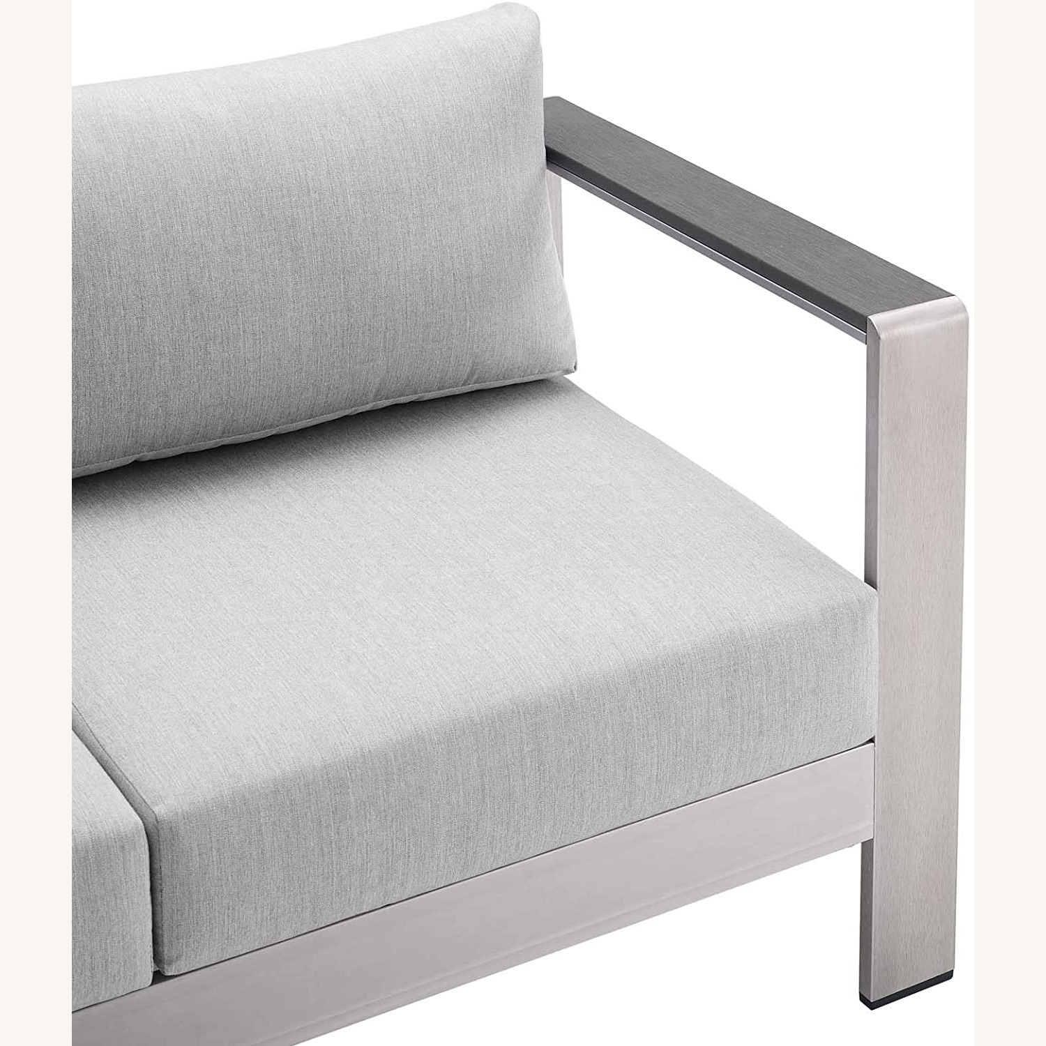 Outdoor Loveseat In Silver Aluminum Frame Finish - image-4