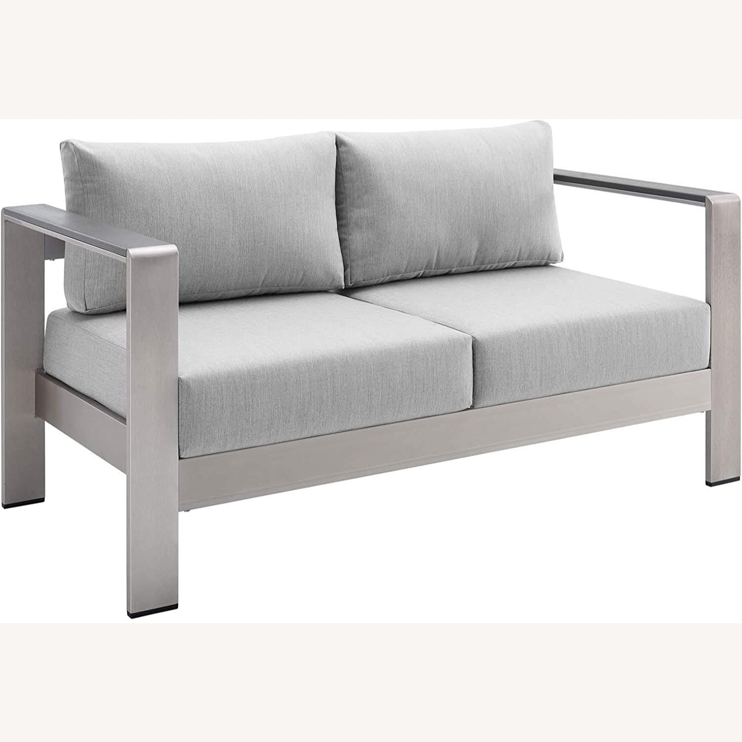 Outdoor Loveseat In Silver Aluminum Frame Finish - image-0