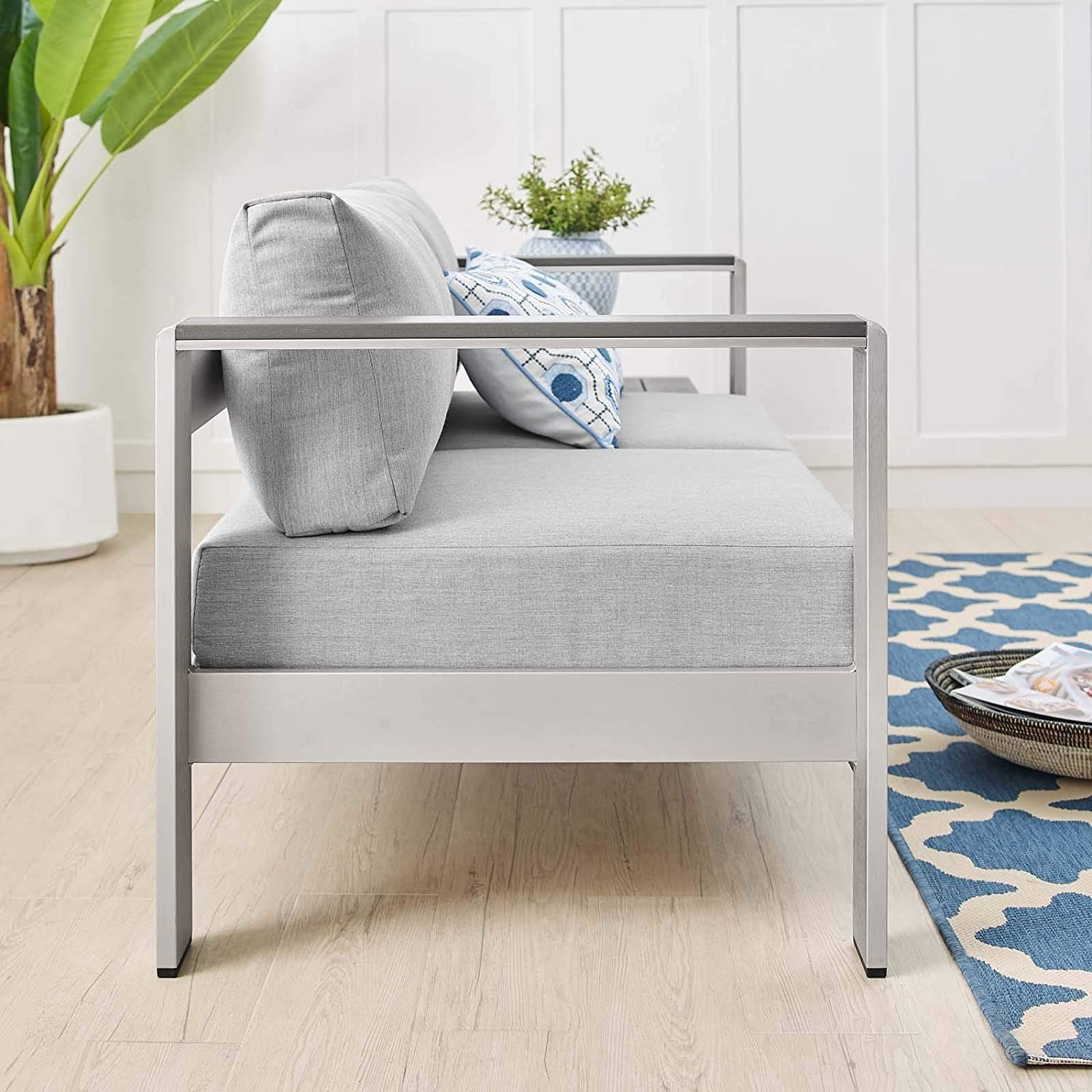 Outdoor Loveseat In Silver Aluminum Frame Finish - image-5