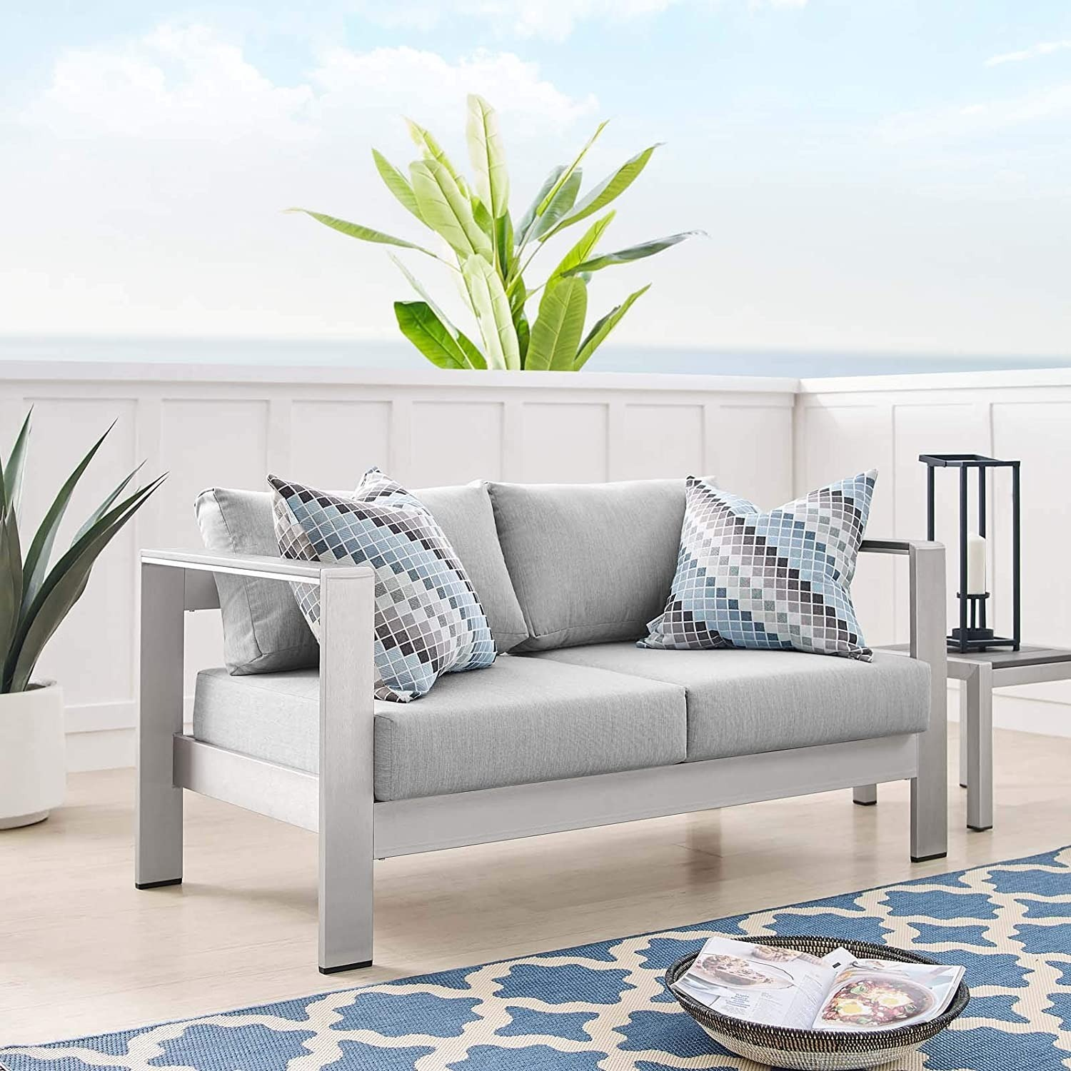 Outdoor Loveseat In Silver Aluminum Frame Finish - image-7