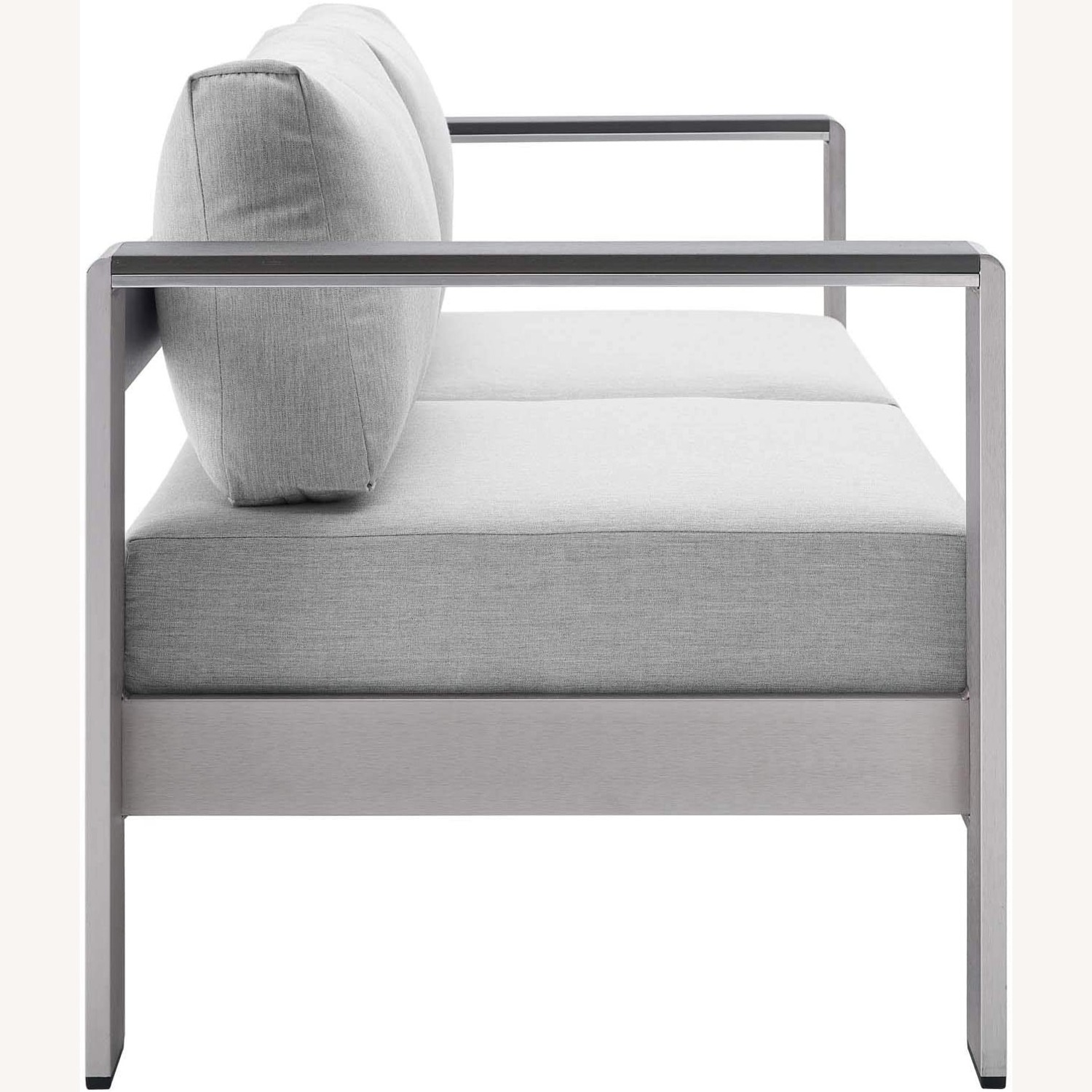 Outdoor Loveseat In Silver Aluminum Frame Finish - image-2