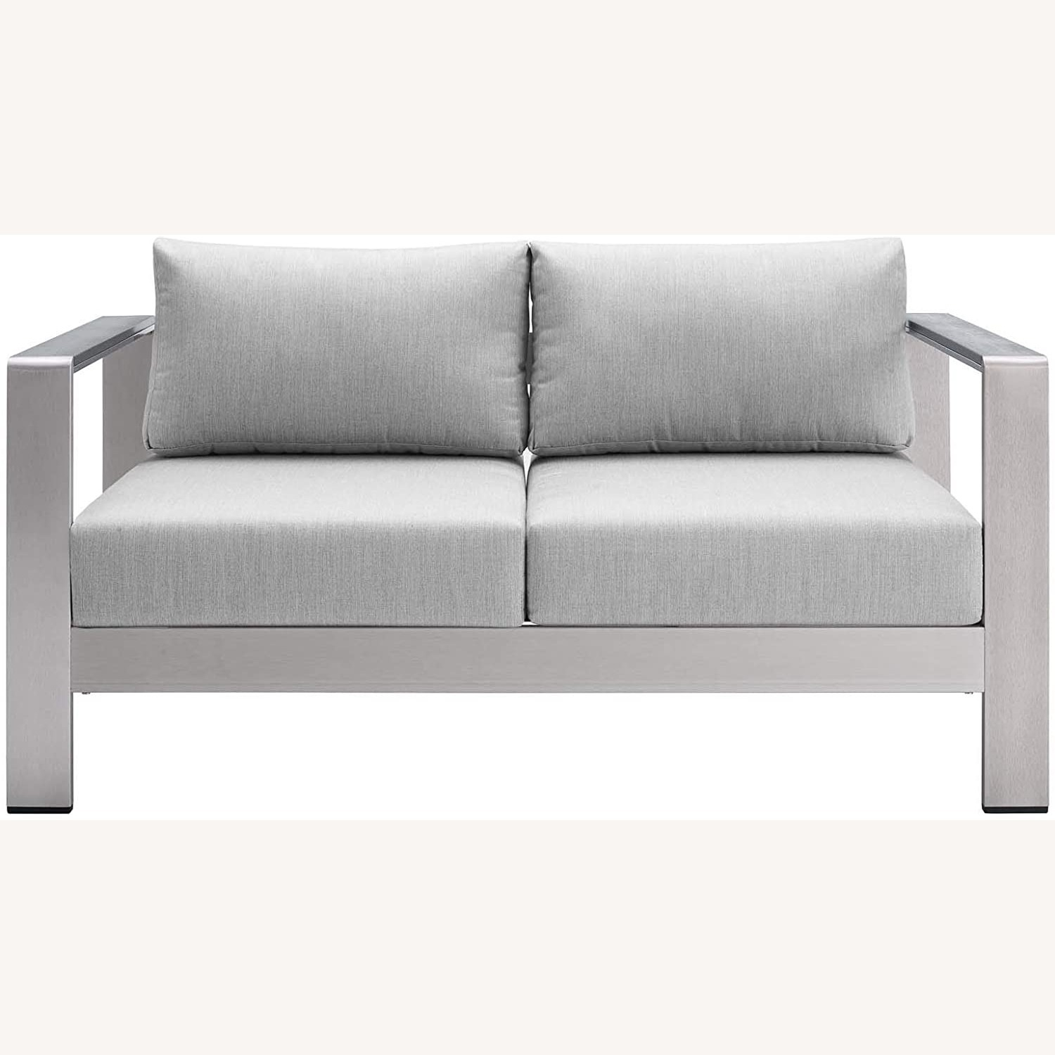 Outdoor Loveseat In Silver Aluminum Frame Finish - image-1