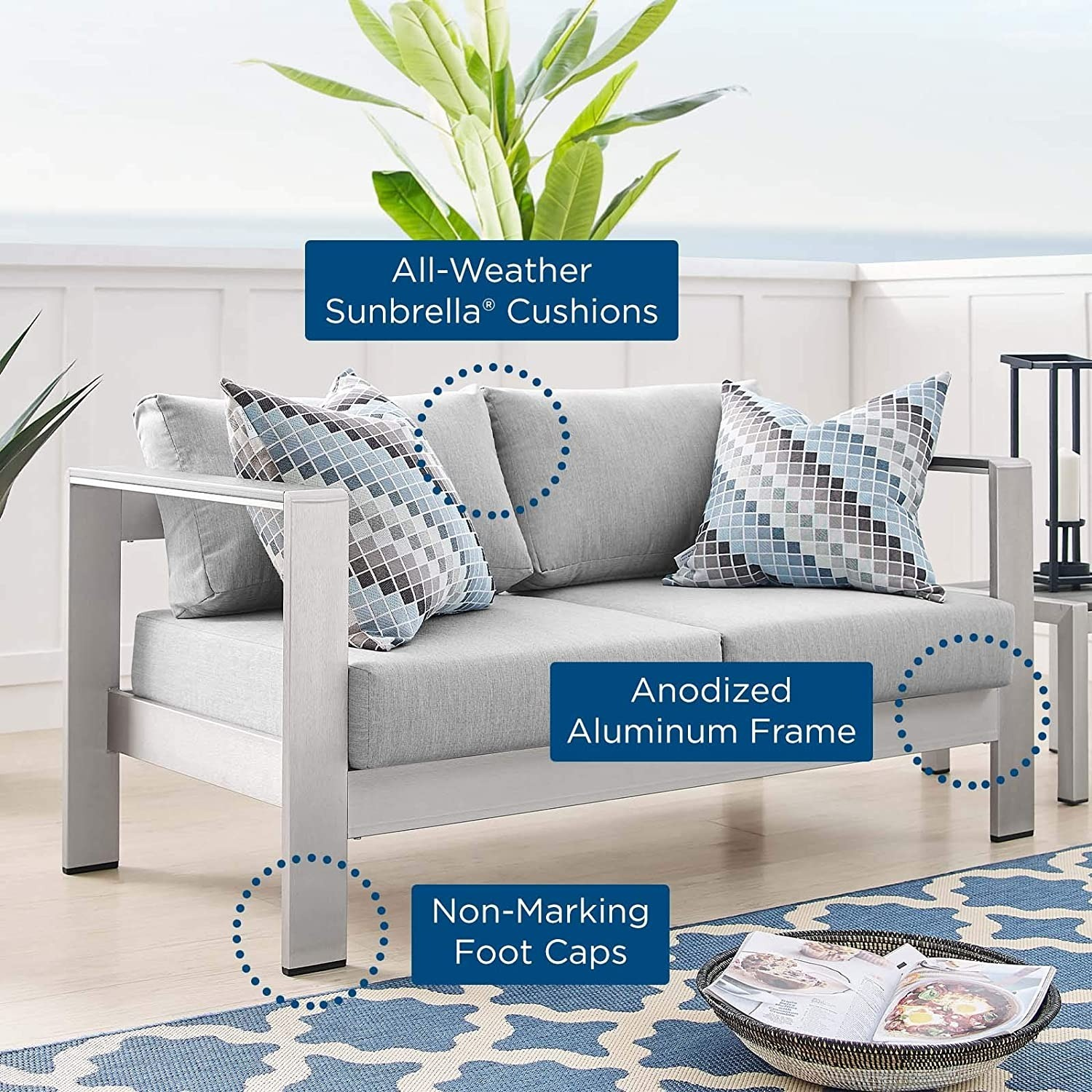 Outdoor Loveseat In Silver Aluminum Frame Finish - image-6