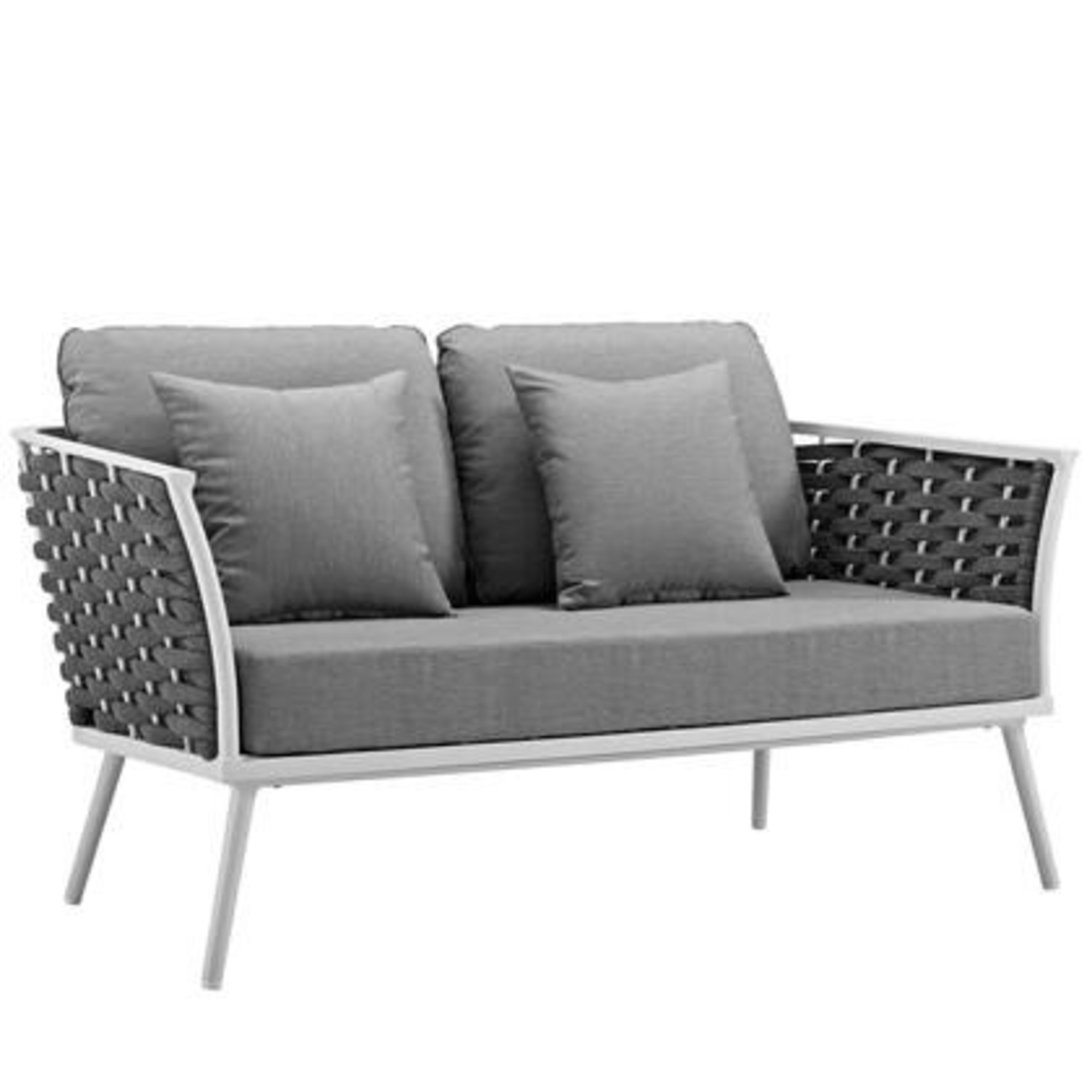 Outdoor Loveseat In Gray Fabric Rope & White Frame - image-0