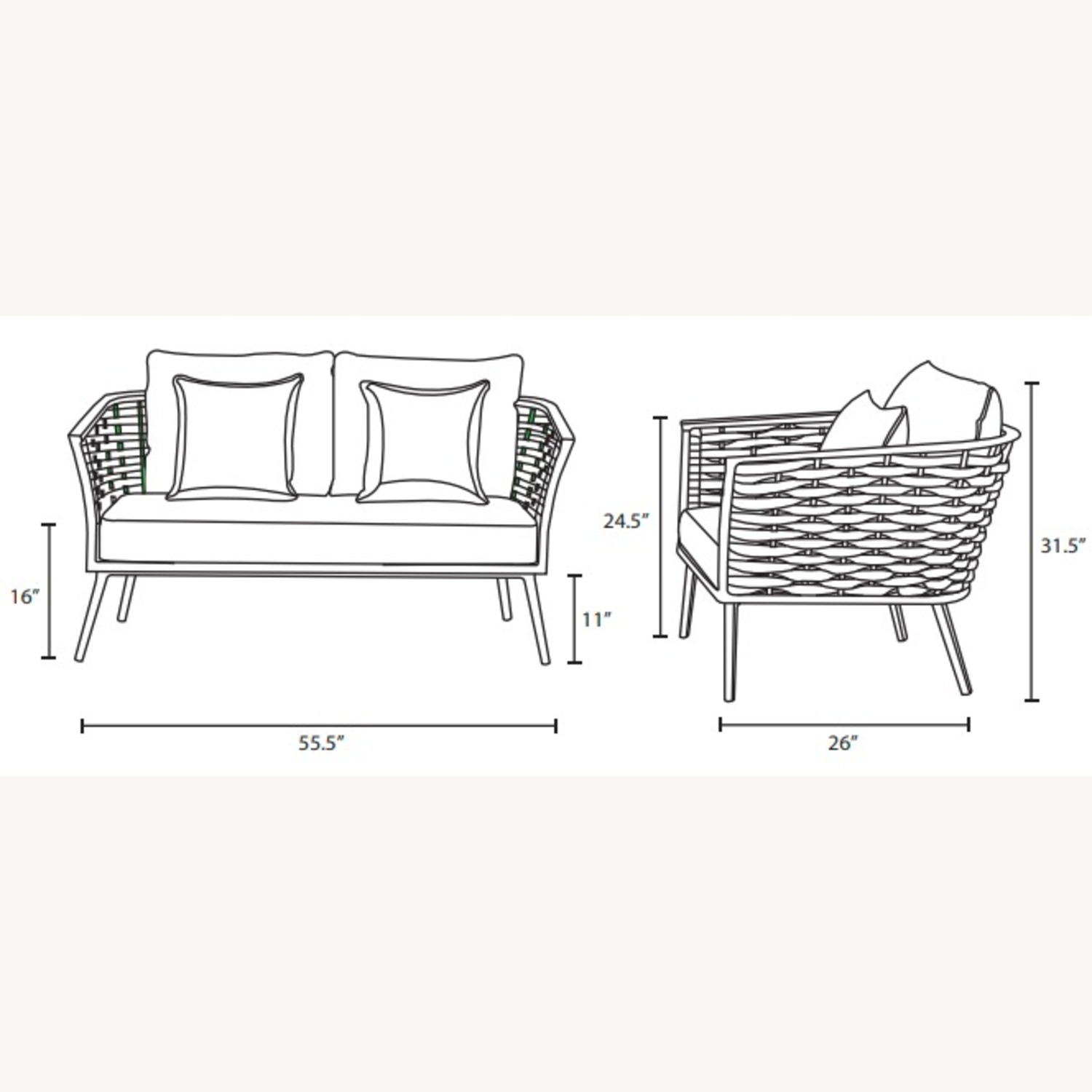 Outdoor Loveseat In Gray Fabric Rope & White Frame - image-5