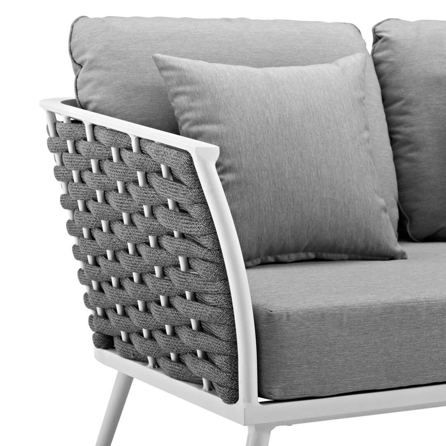 Outdoor Loveseat In Gray Fabric Rope & White Frame - image-3