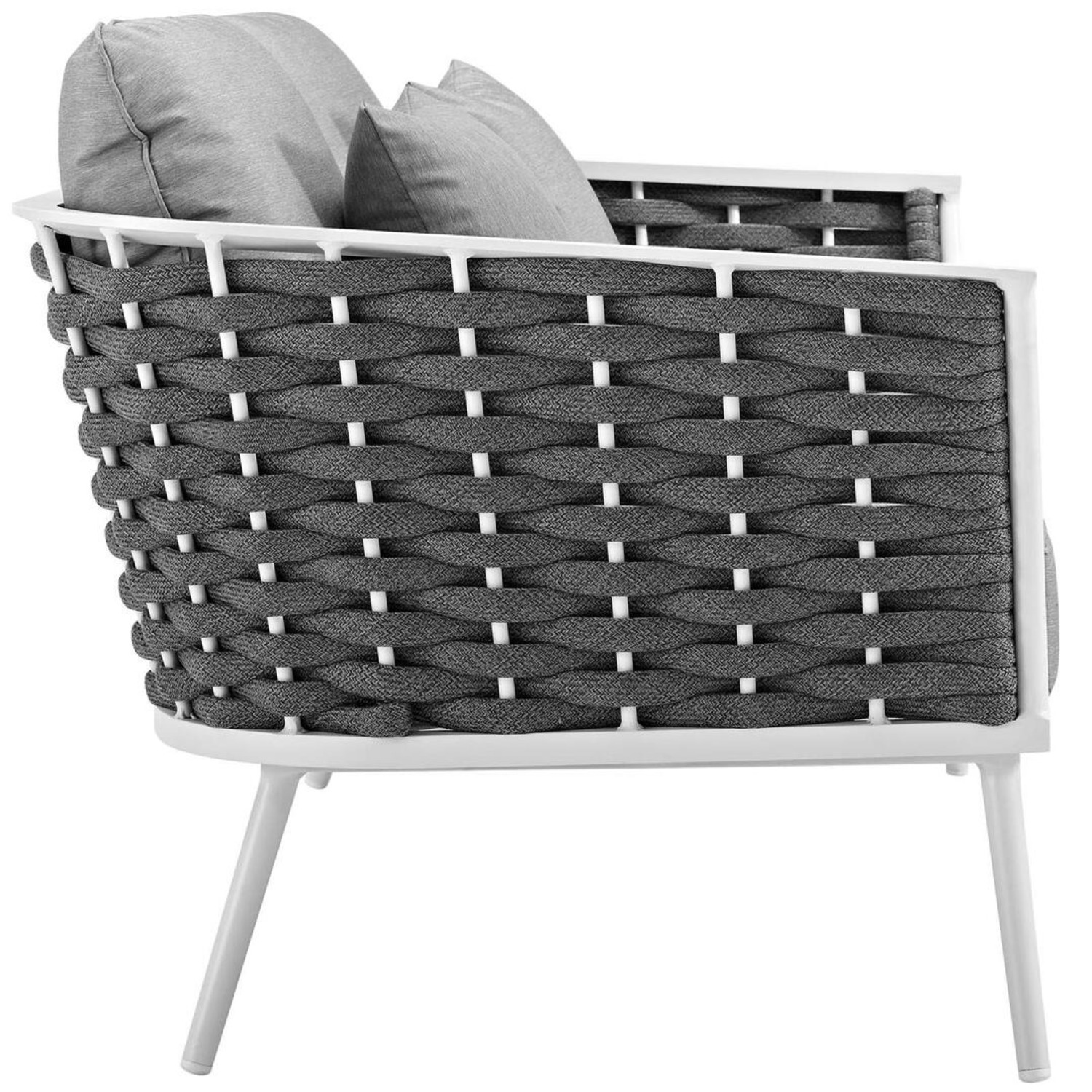 Outdoor Loveseat In Gray Fabric Rope & White Frame - image-2