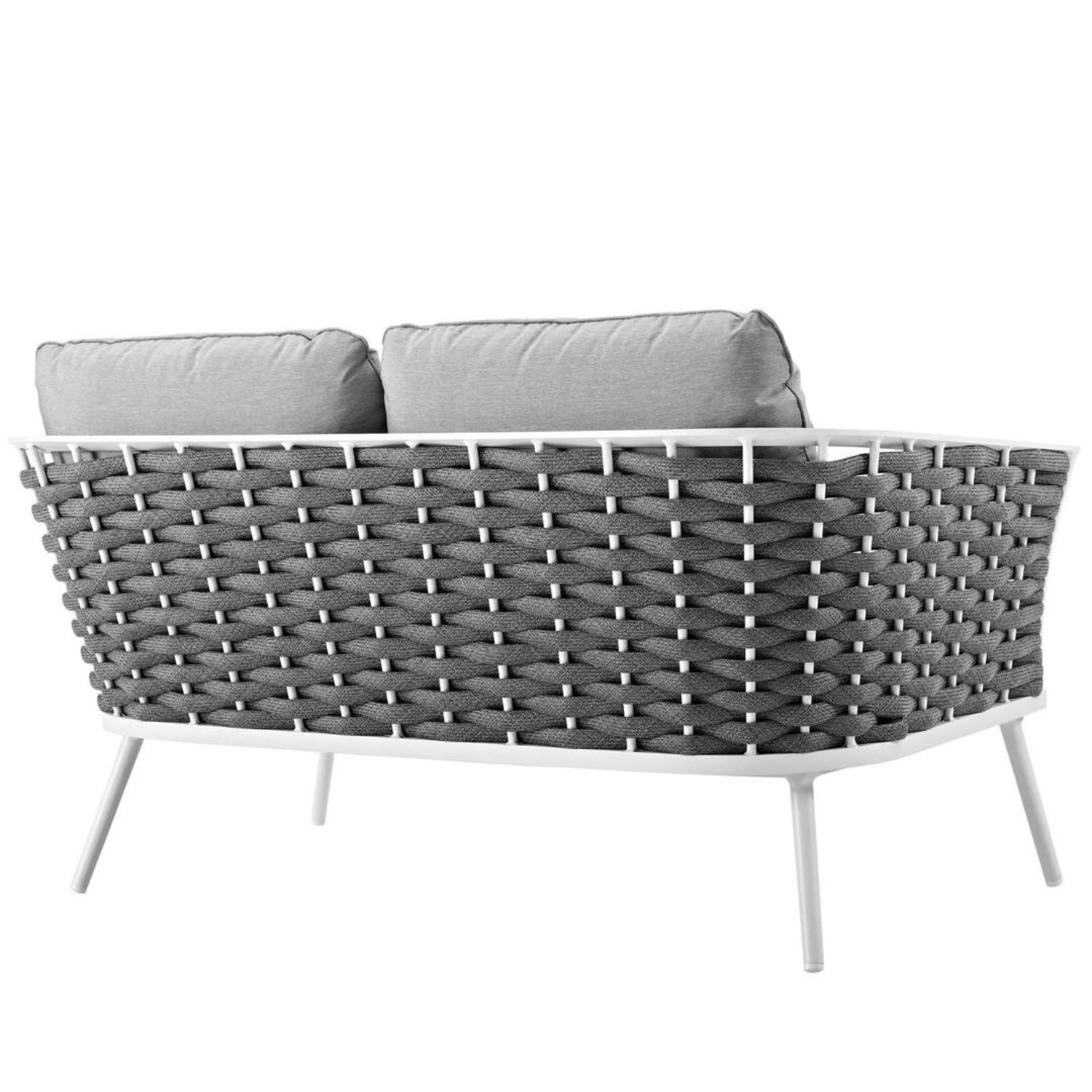Outdoor Loveseat In Gray Fabric Rope & White Frame - image-1