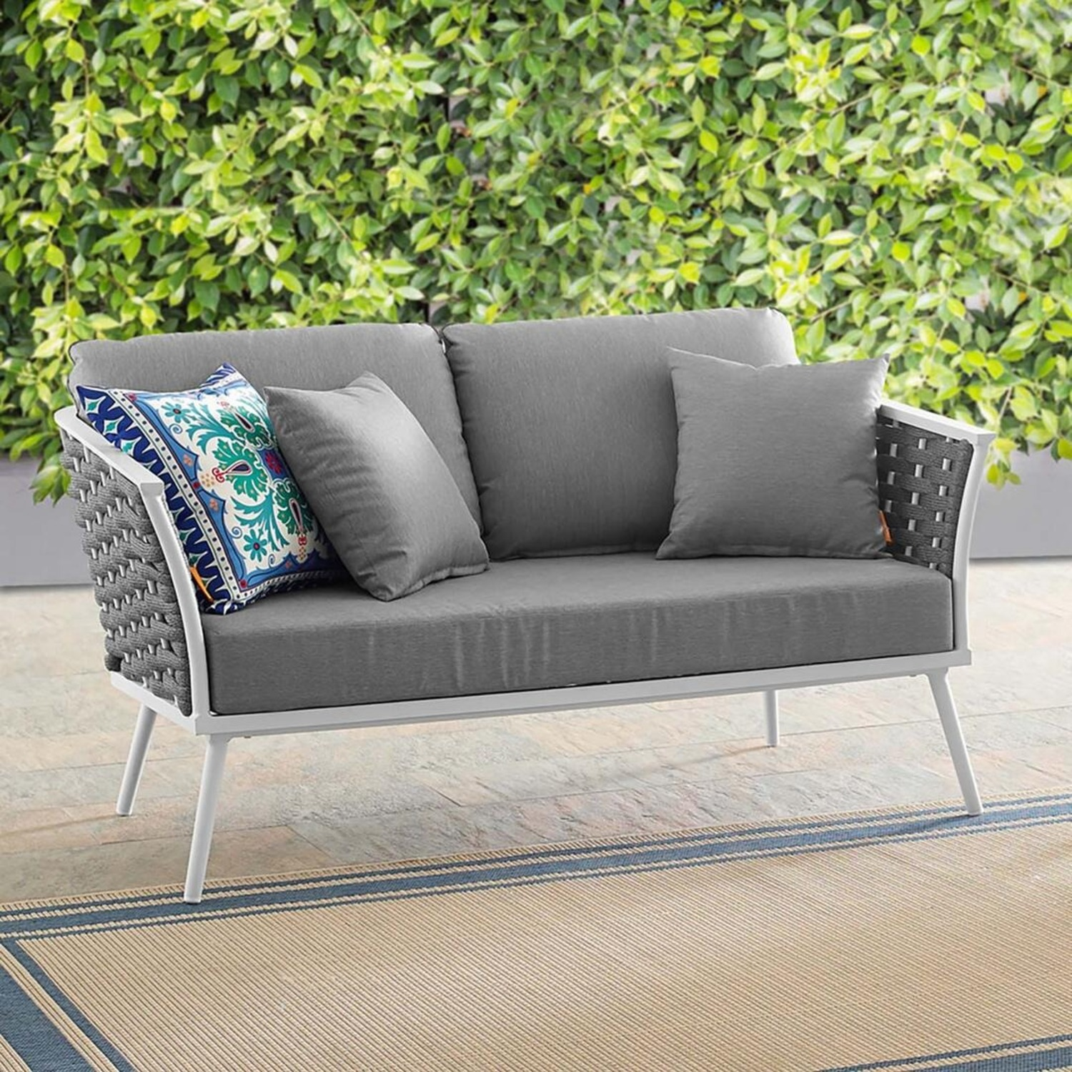 Outdoor Loveseat In Gray Fabric Rope & White Frame - image-4