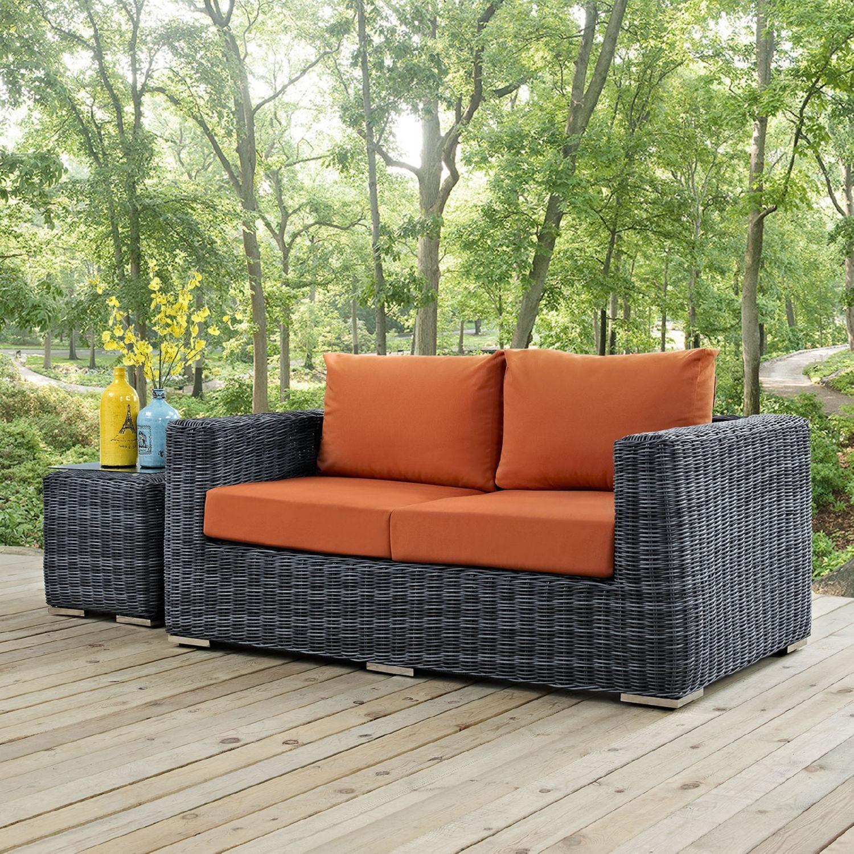 Outdoor Loveseat W/ Tuscan Cushion Fabric - image-4