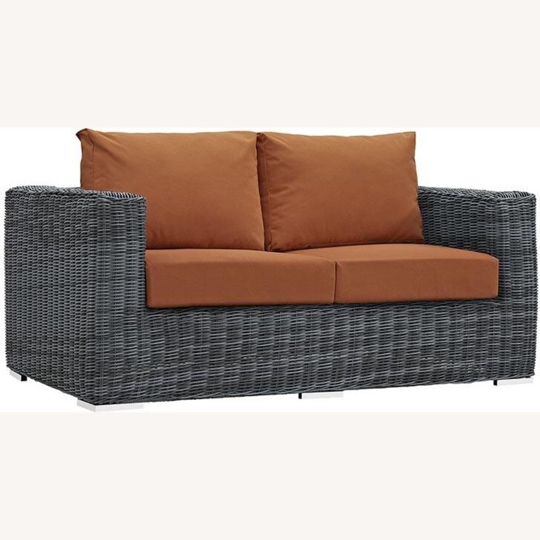 Outdoor Loveseat W/ Tuscan Cushion Fabric - image-1