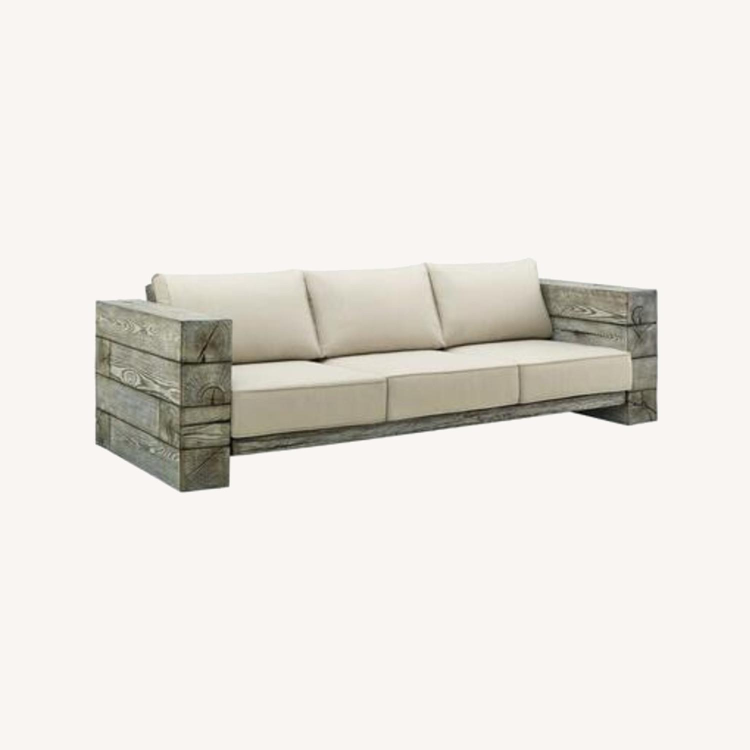 Outdoor Patio Sofa In Light Gray Beige Fabric - image-5