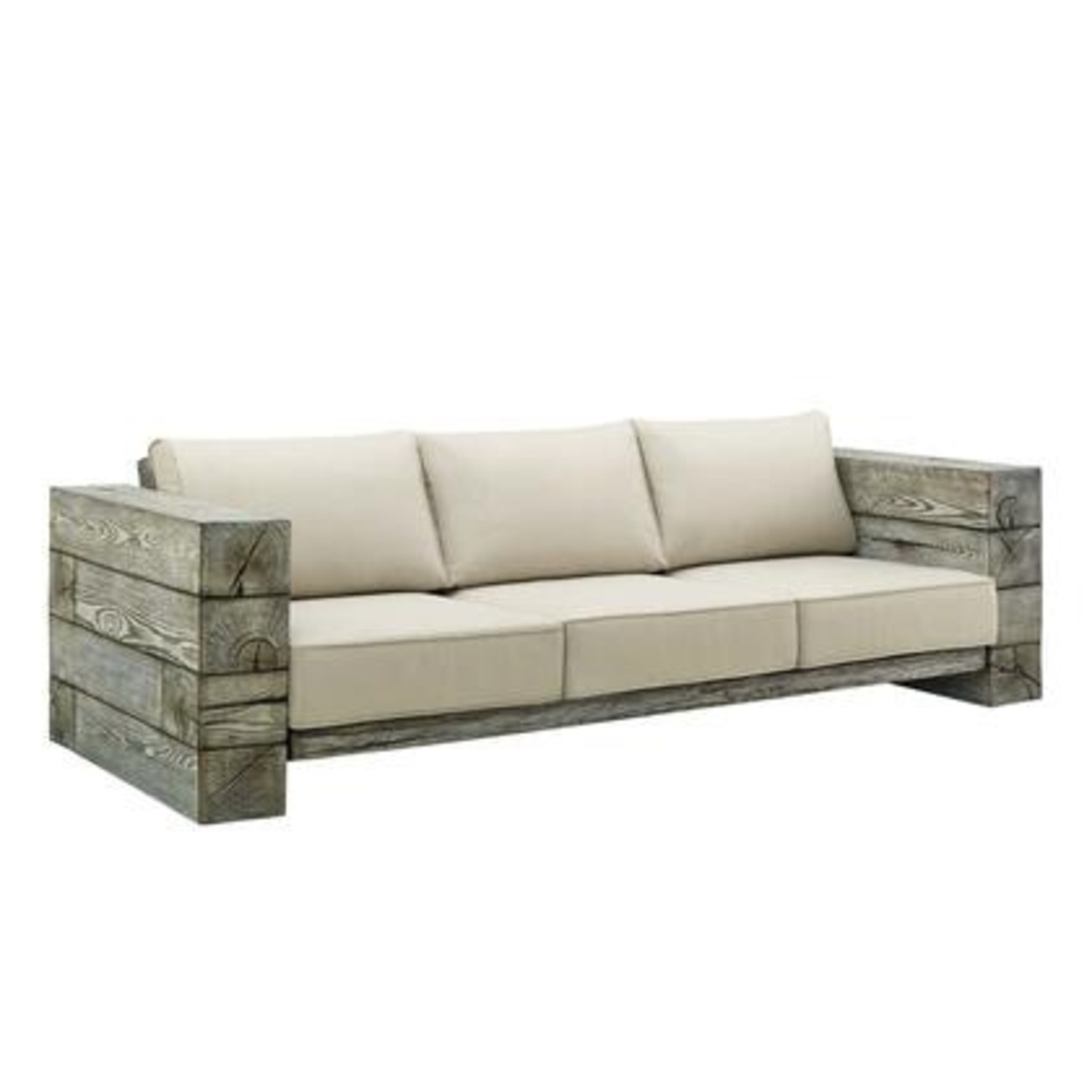 Outdoor Patio Sofa In Light Gray Beige Fabric - image-0