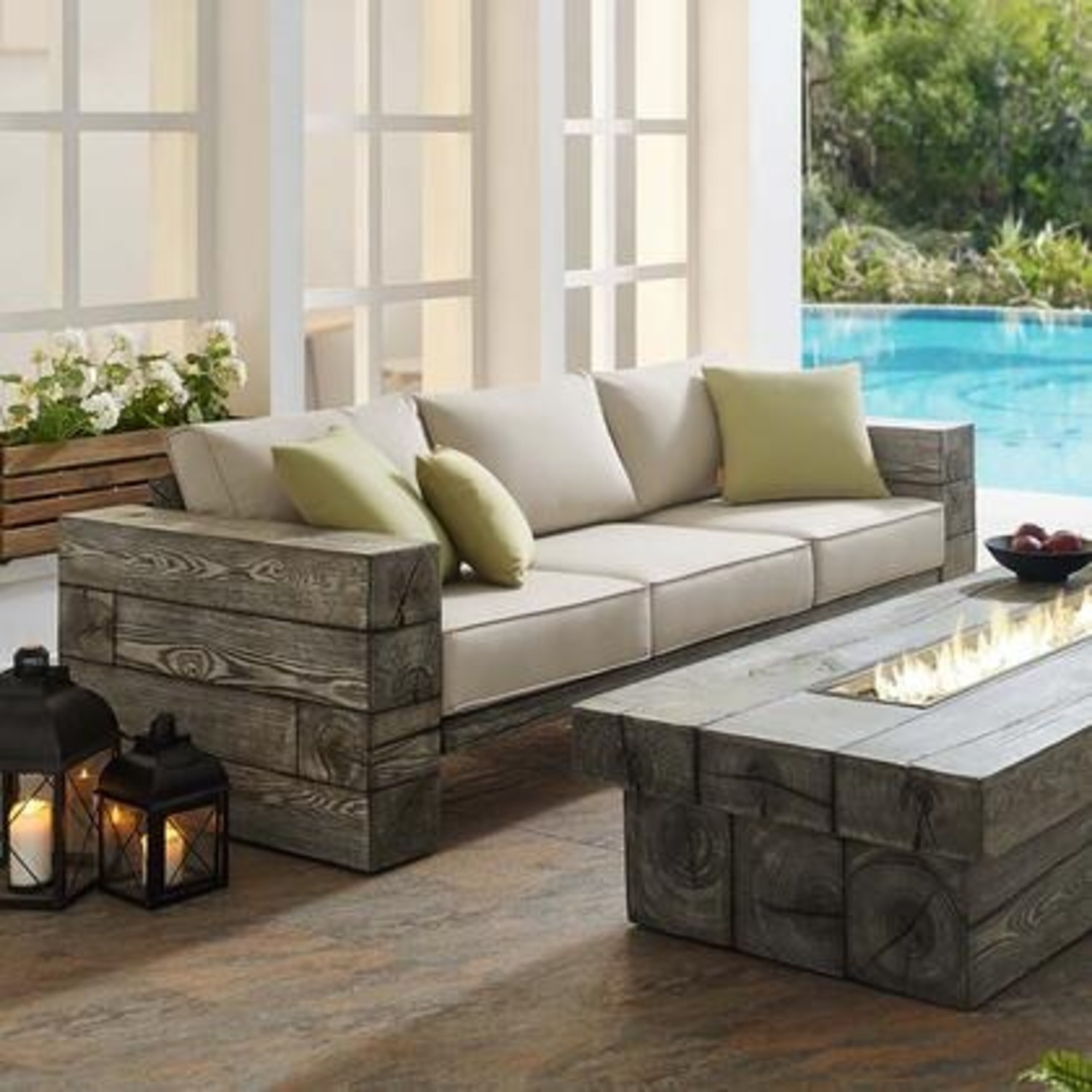 Outdoor Patio Sofa In Light Gray Beige Fabric - image-3