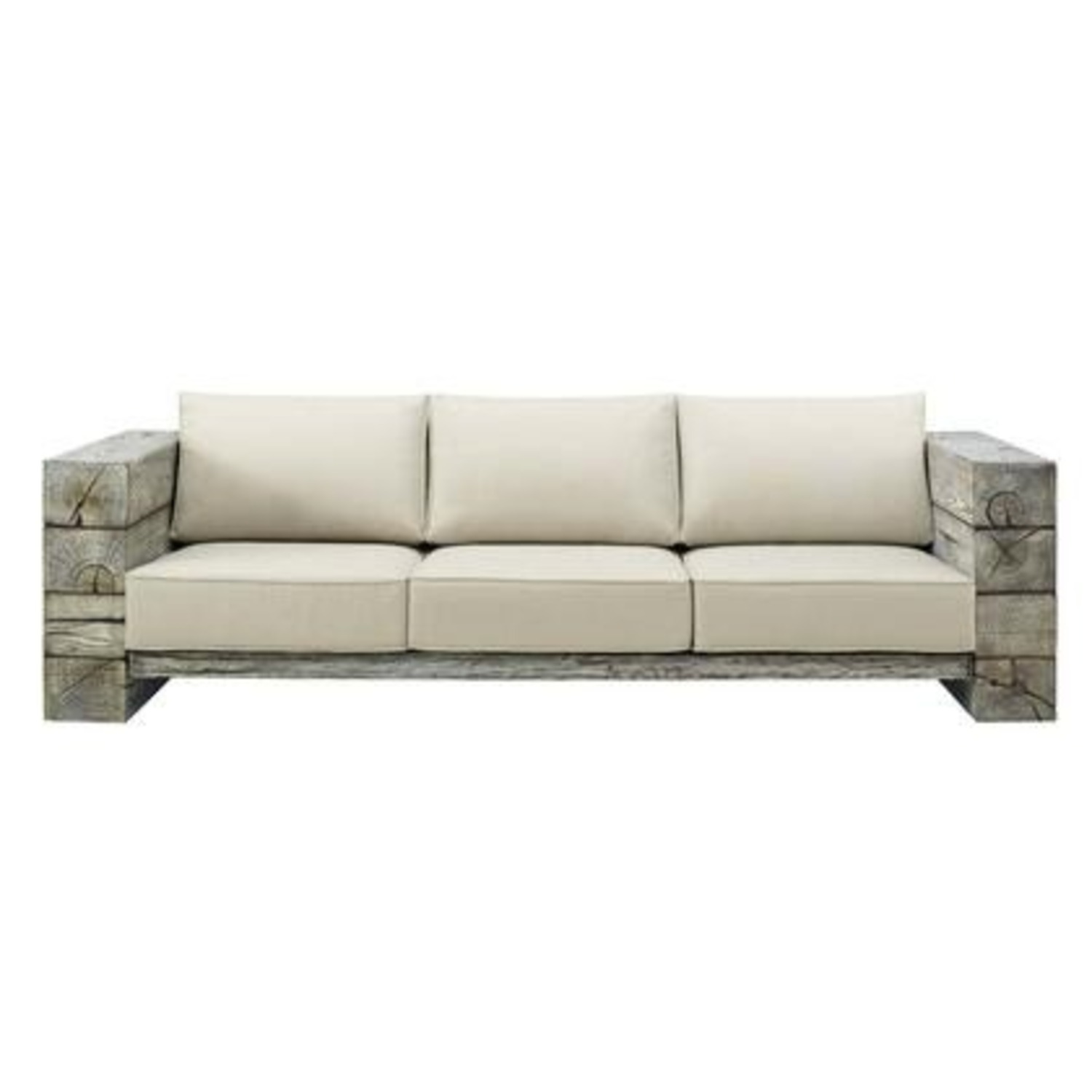 Outdoor Patio Sofa In Light Gray Beige Fabric - image-1