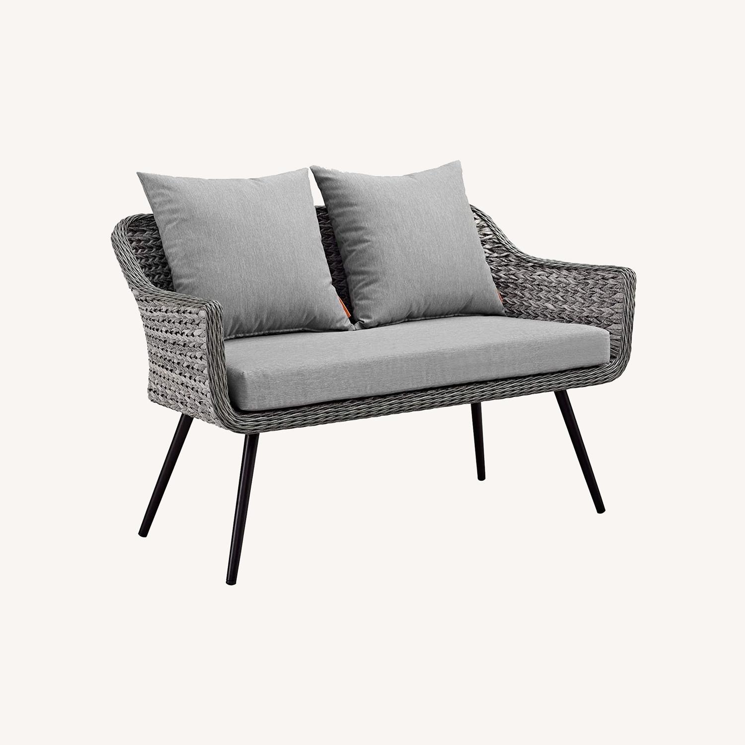 Outdoor Loveseat In Gray-On-Gray Tone Finish - image-6