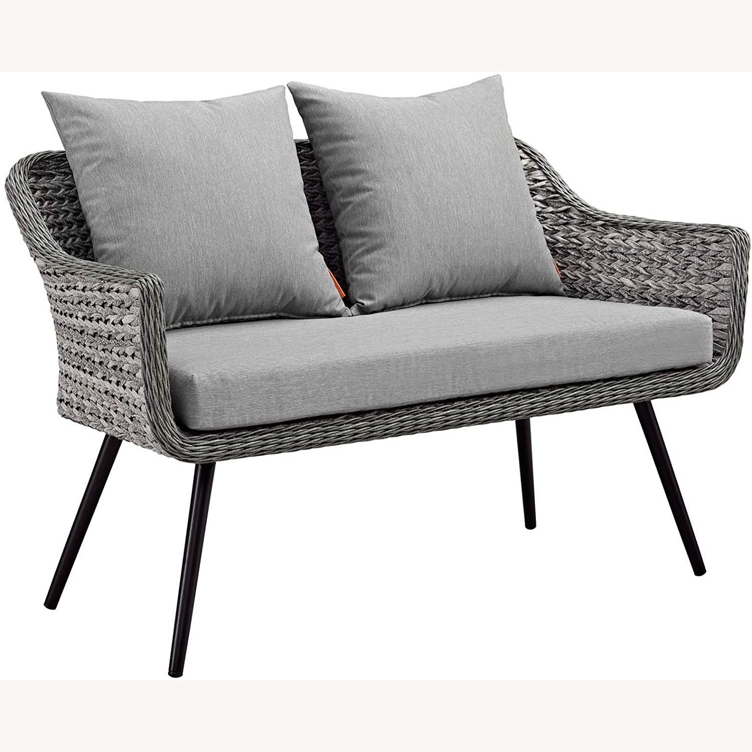 Outdoor Loveseat In Gray-On-Gray Tone Finish - image-1