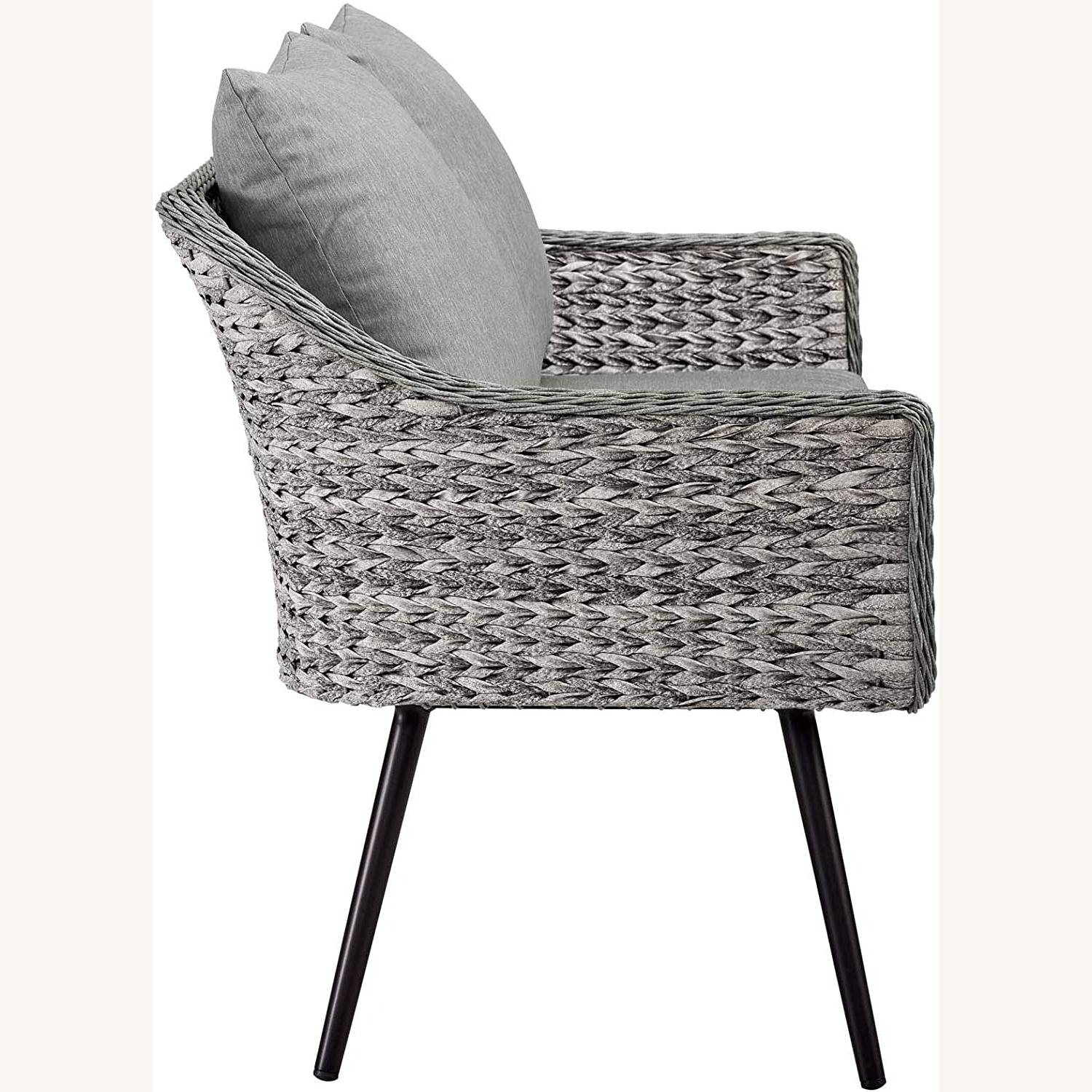 Outdoor Loveseat In Gray-On-Gray Tone Finish - image-2