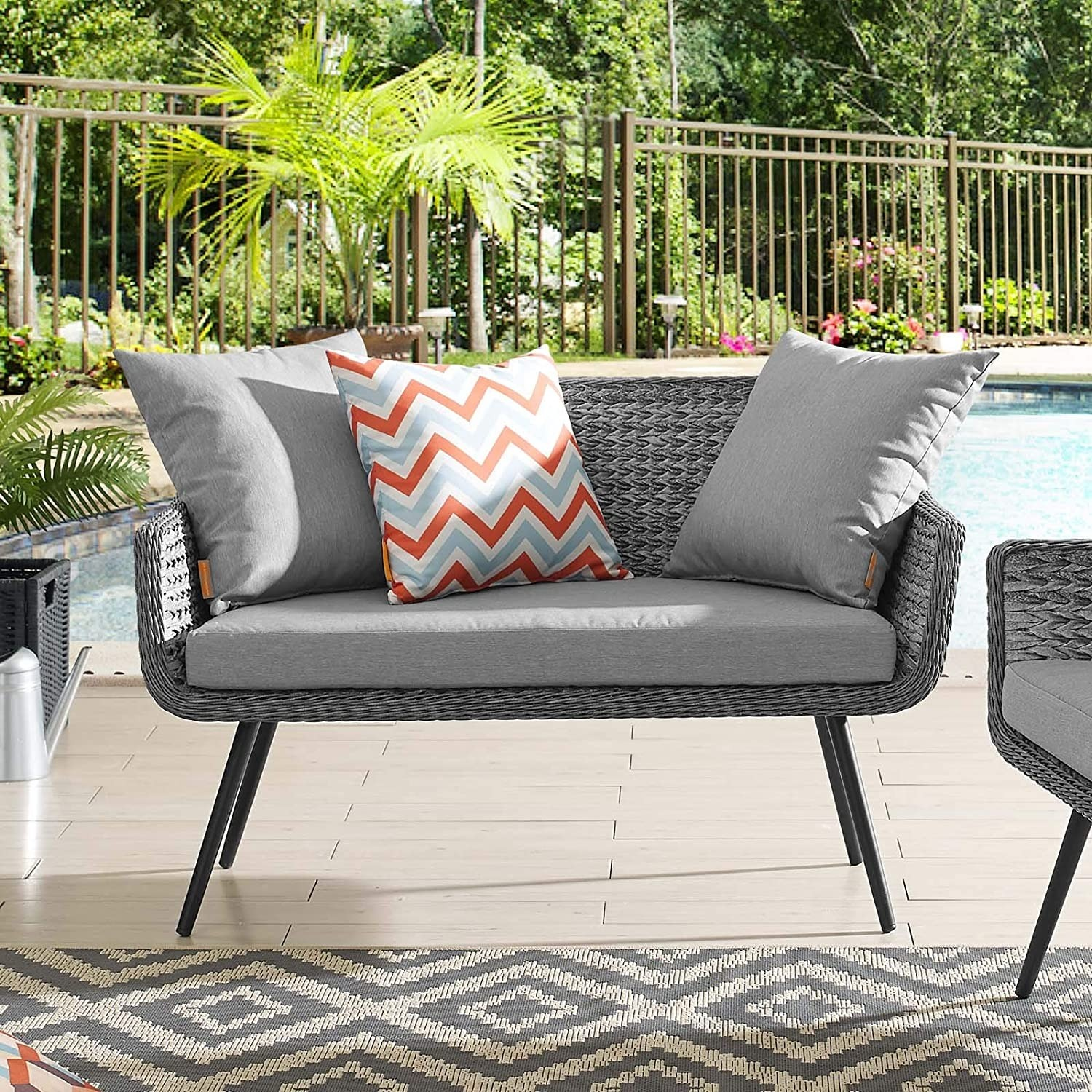 Outdoor Loveseat In Gray-On-Gray Tone Finish - image-4
