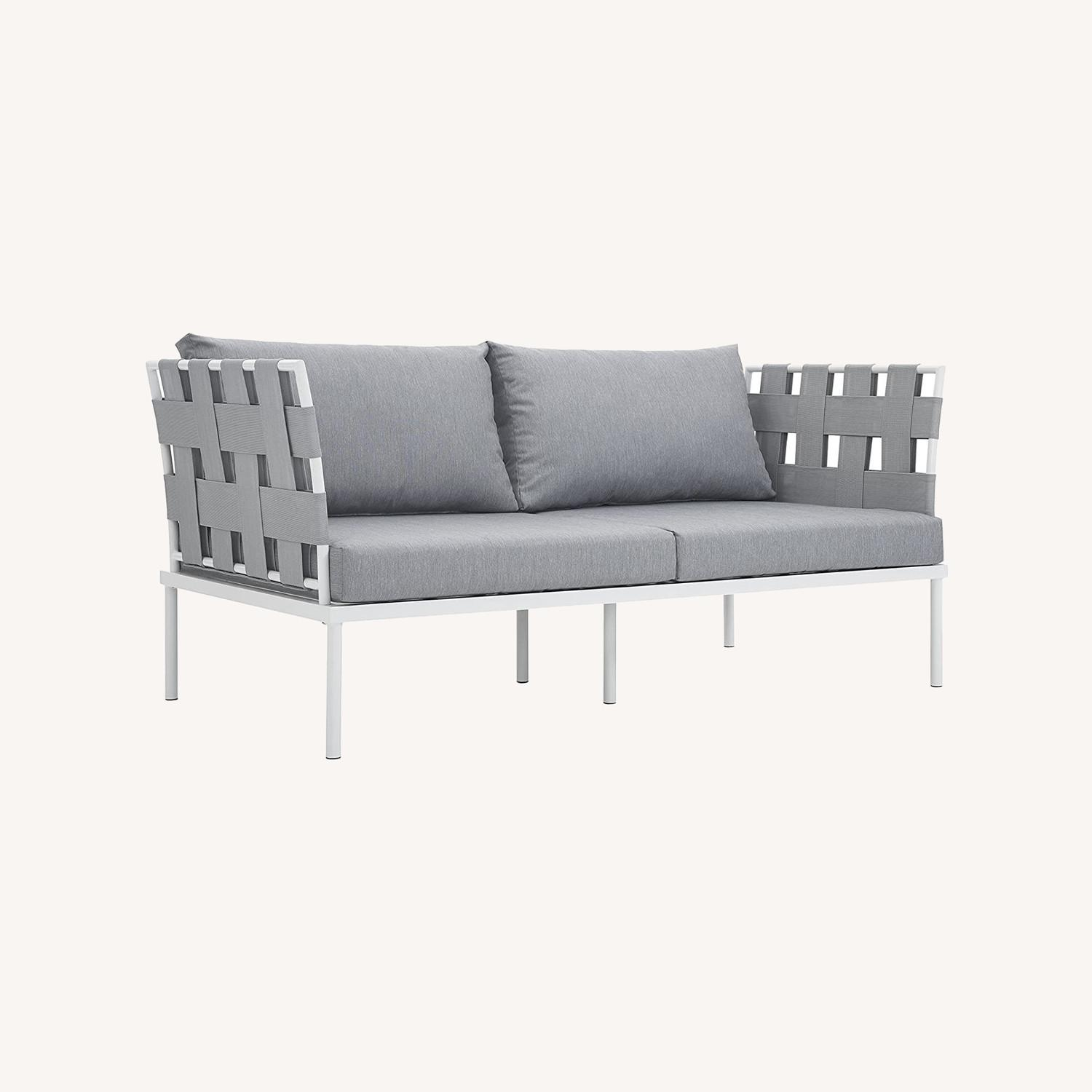 Outdoor Loveseat In Gray Silk Polyester Weave - image-6