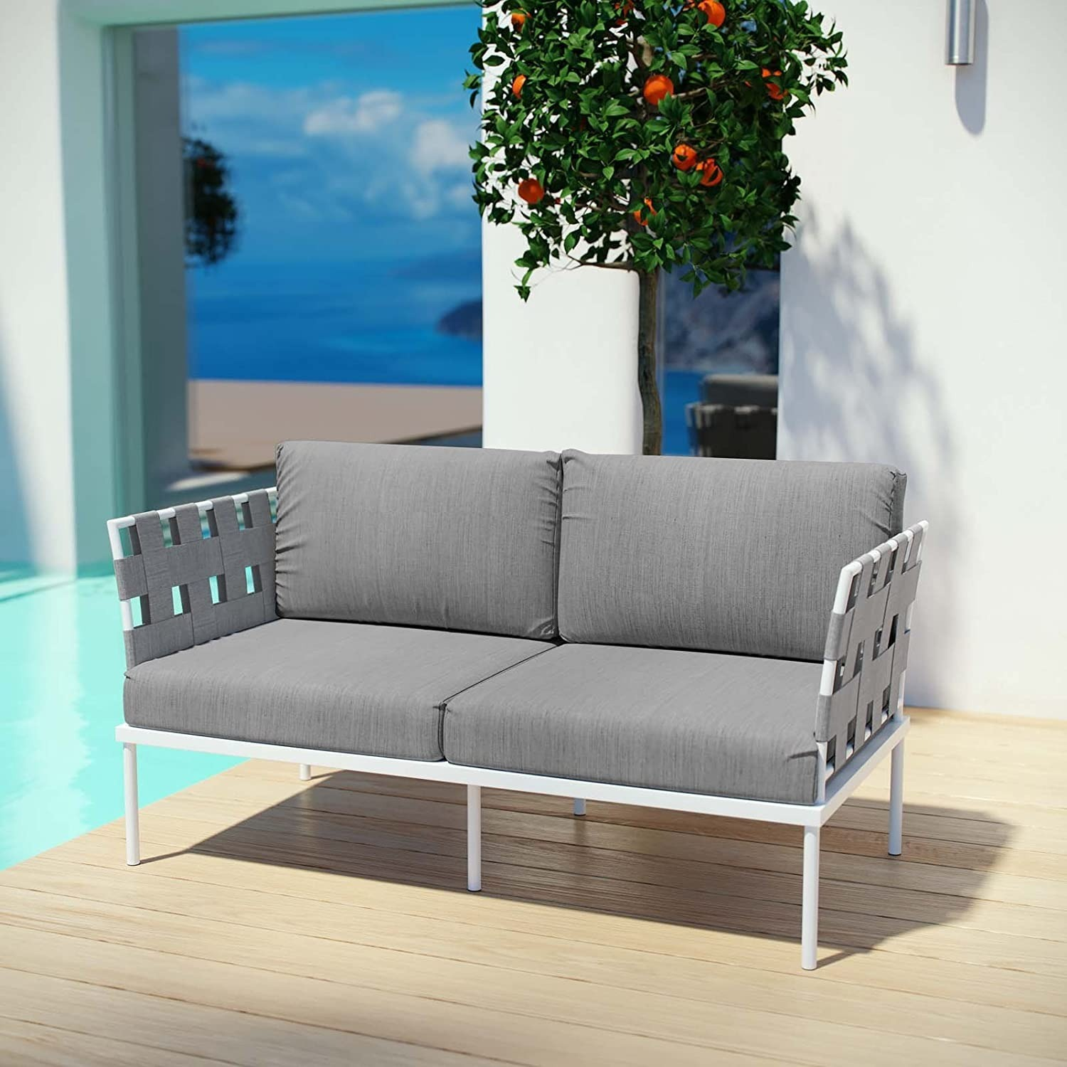 Outdoor Loveseat In Gray Silk Polyester Weave - image-4