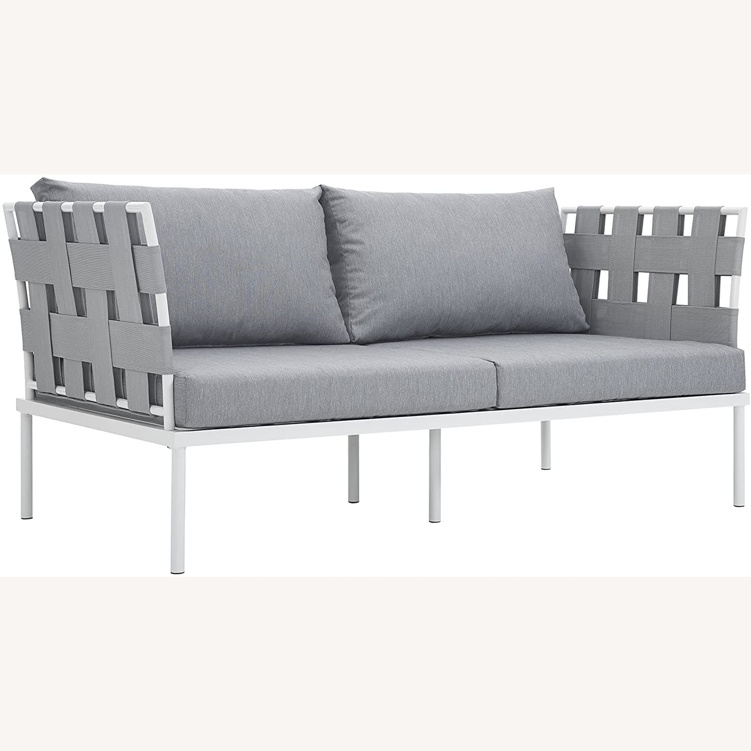 Outdoor Loveseat In Gray Silk Polyester Weave - image-0