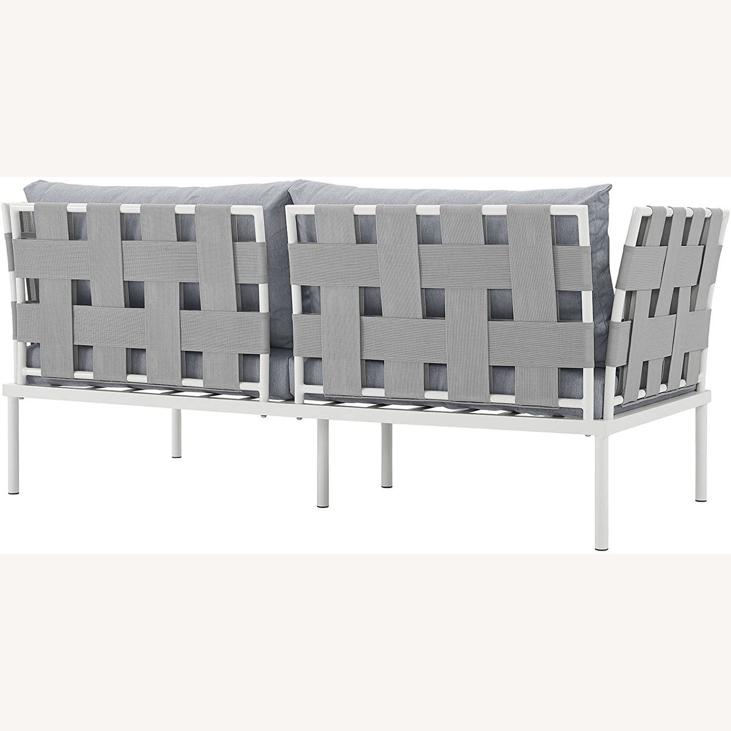 Outdoor Loveseat In Gray Silk Polyester Weave - image-3