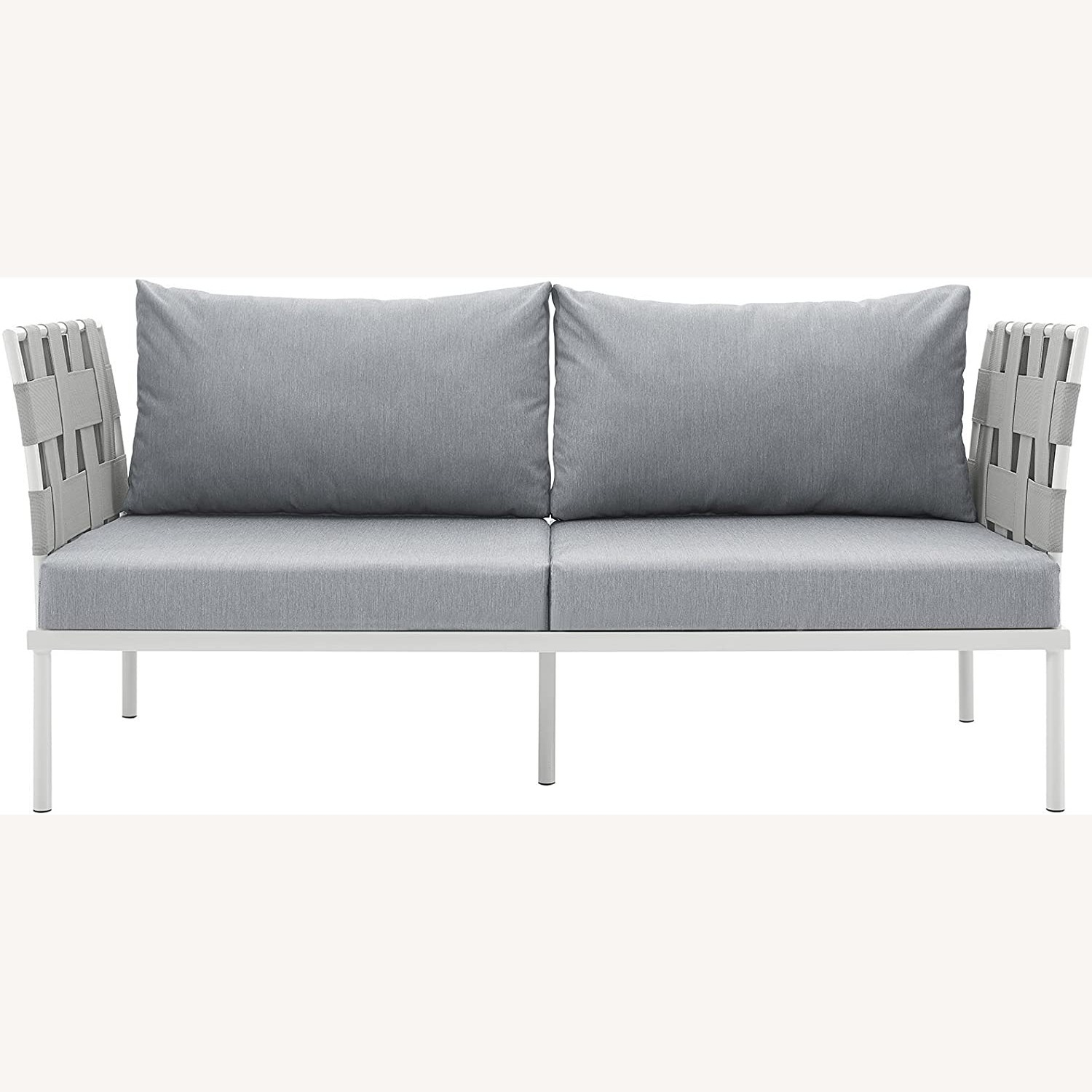 Outdoor Loveseat In Gray Silk Polyester Weave - image-1