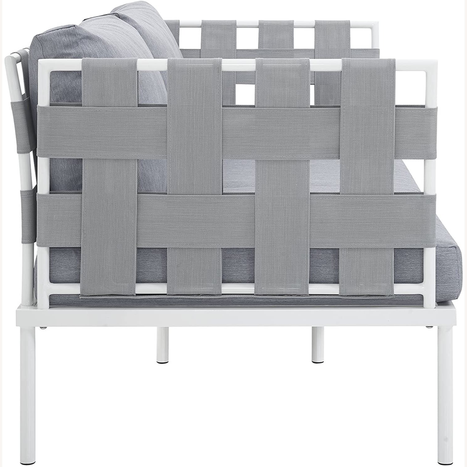 Outdoor Loveseat In Gray Silk Polyester Weave - image-2