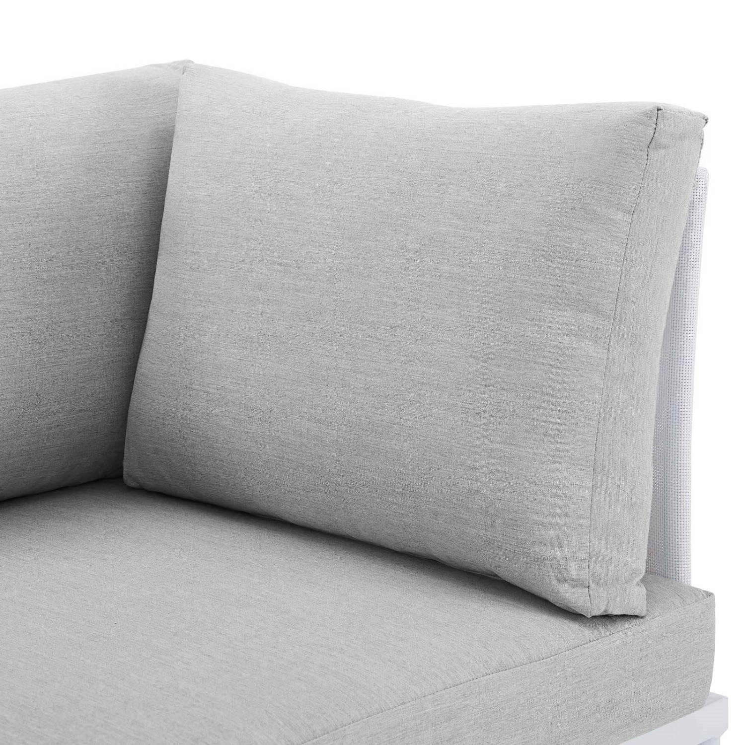 Outdoor Loveseat In White Frame & Gray Cushion - image-3
