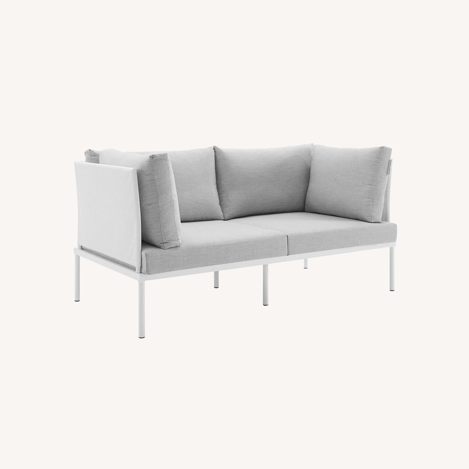 Outdoor Loveseat In White Frame & Gray Cushion - image-5