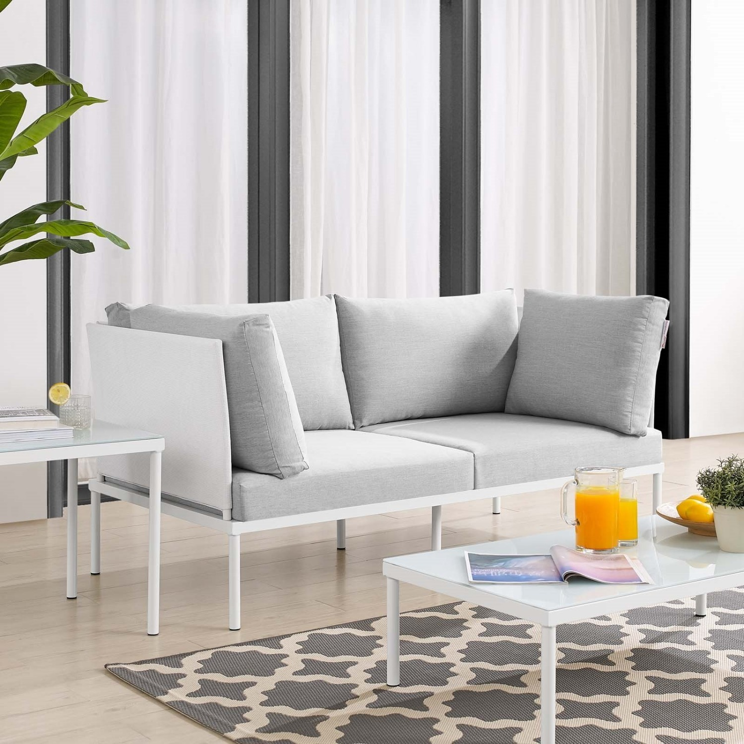 Outdoor Loveseat In White Frame & Gray Cushion - image-4