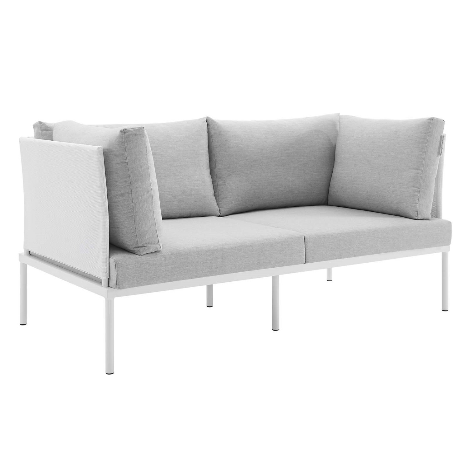 Outdoor Loveseat In White Frame & Gray Cushion - image-0