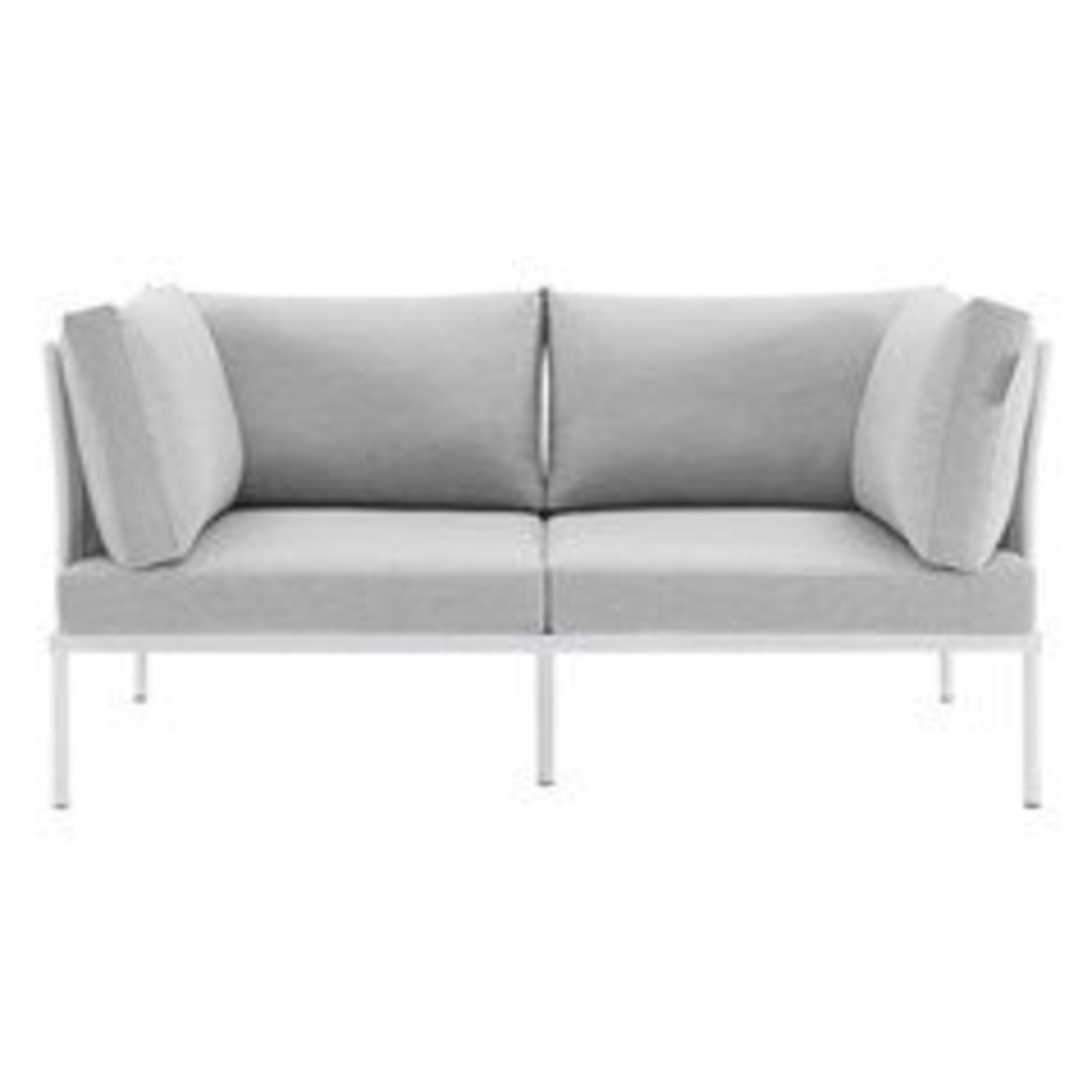 Outdoor Loveseat In White Frame & Gray Cushion - image-1