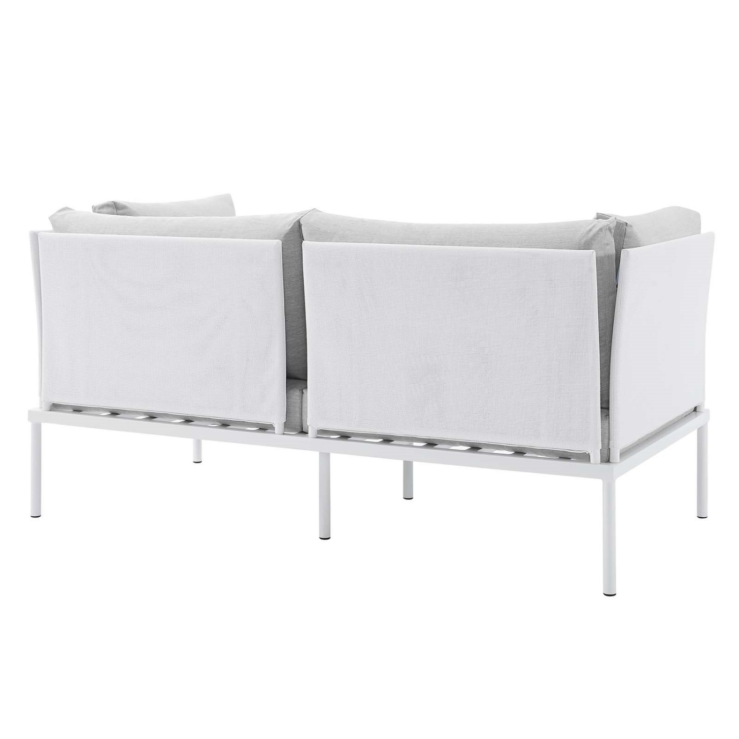 Outdoor Loveseat In White Frame & Gray Cushion - image-2