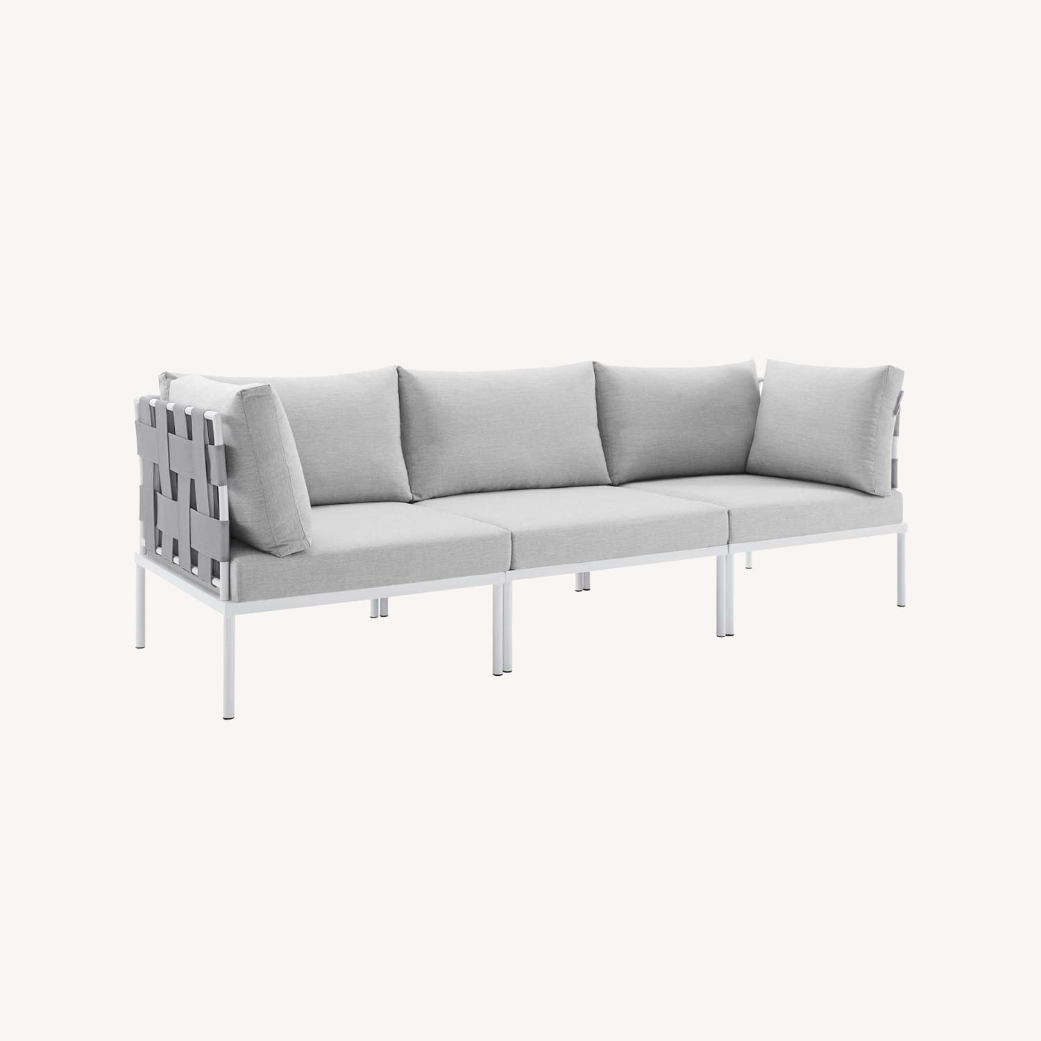 Outdoor Sofa In Gray Silk Weave & Gray Cushion - image-4