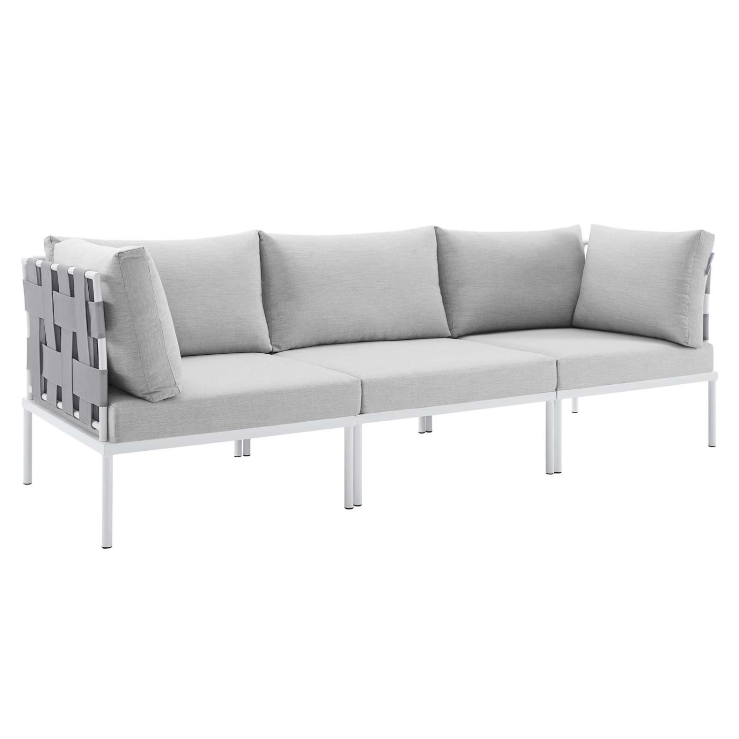 Outdoor Sofa In Gray Silk Weave & Gray Cushion - image-0