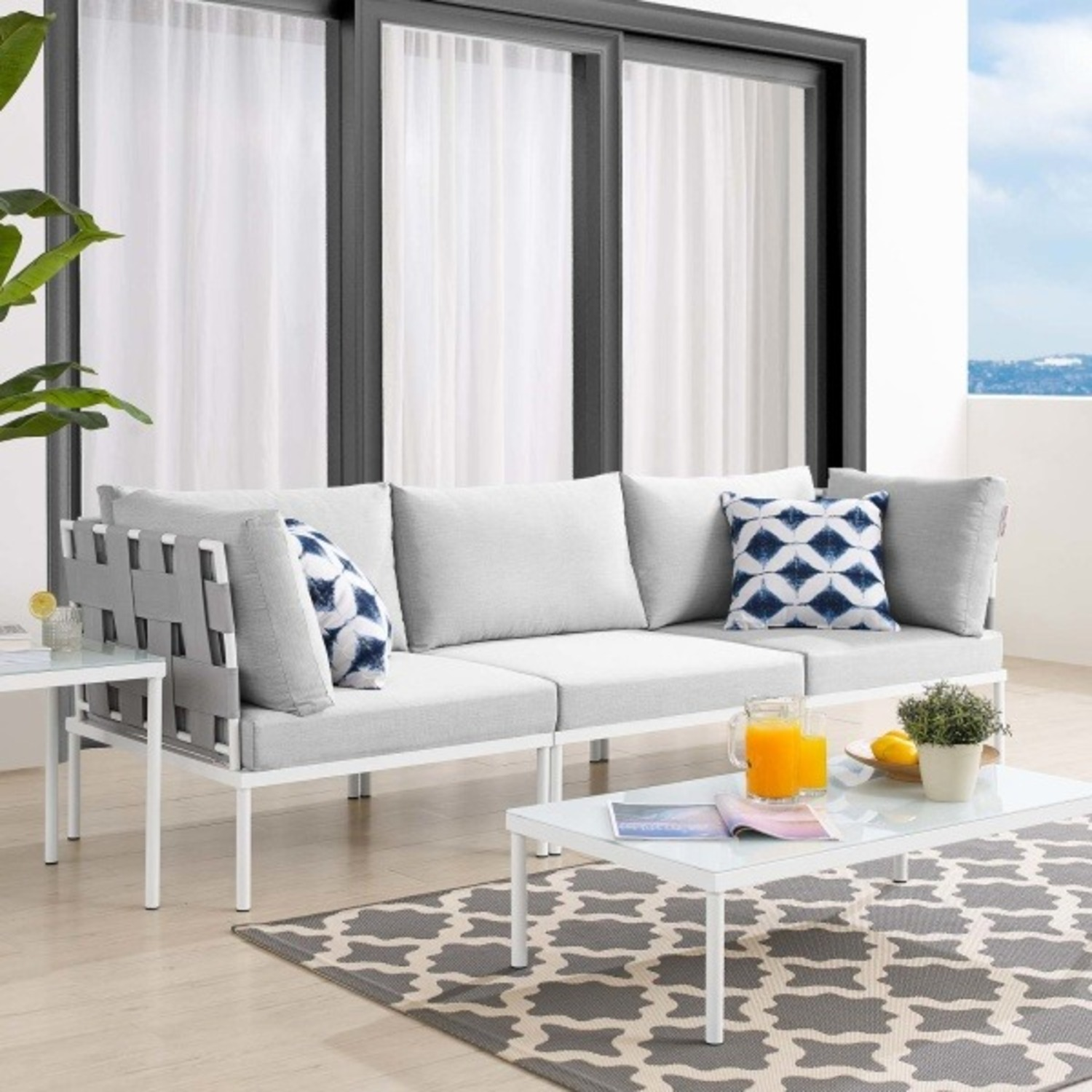 Outdoor Sofa In Gray Silk Weave & Gray Cushion - image-3