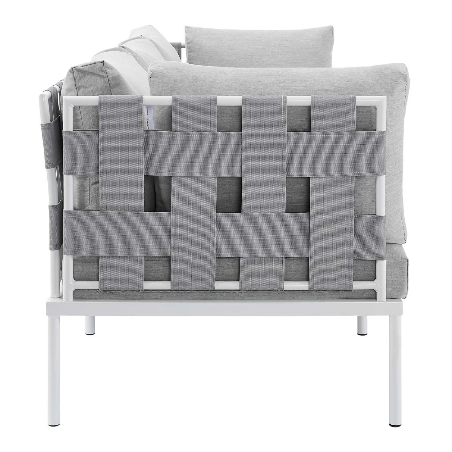 Outdoor Sofa In Gray Silk Weave & Gray Cushion - image-2
