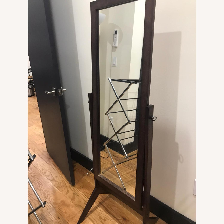 Crown Mark Espresso Wooden Standing Mirror - image-4