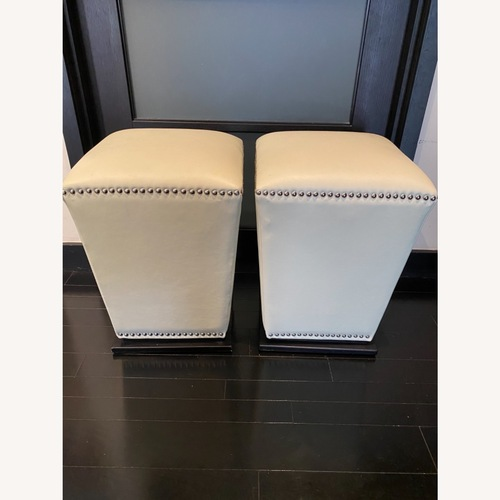 Used Luxurious Ottoman Pair in Pearl Leather for sale on AptDeco