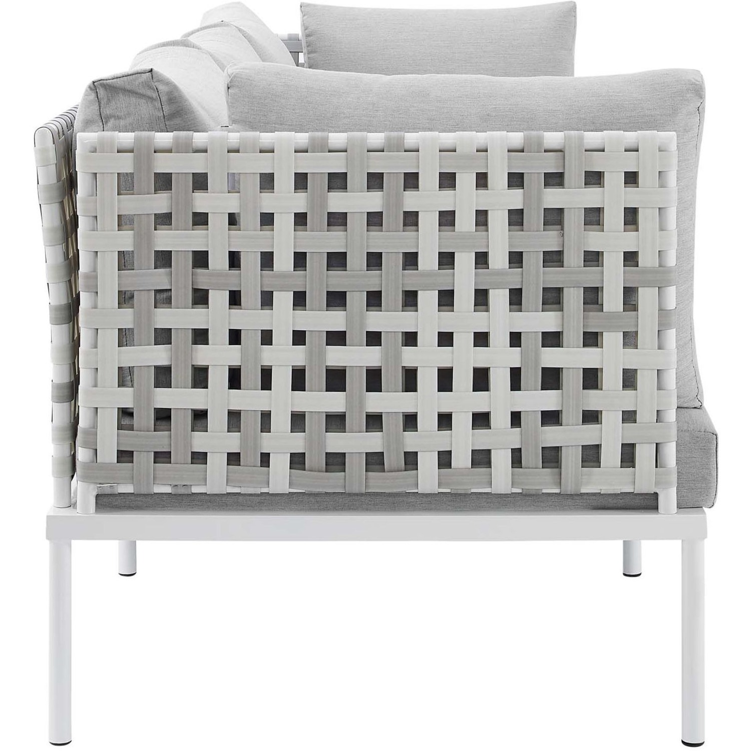 Outdoor Patio Sofa In Taupe Gray Cushion Fabric - image-2