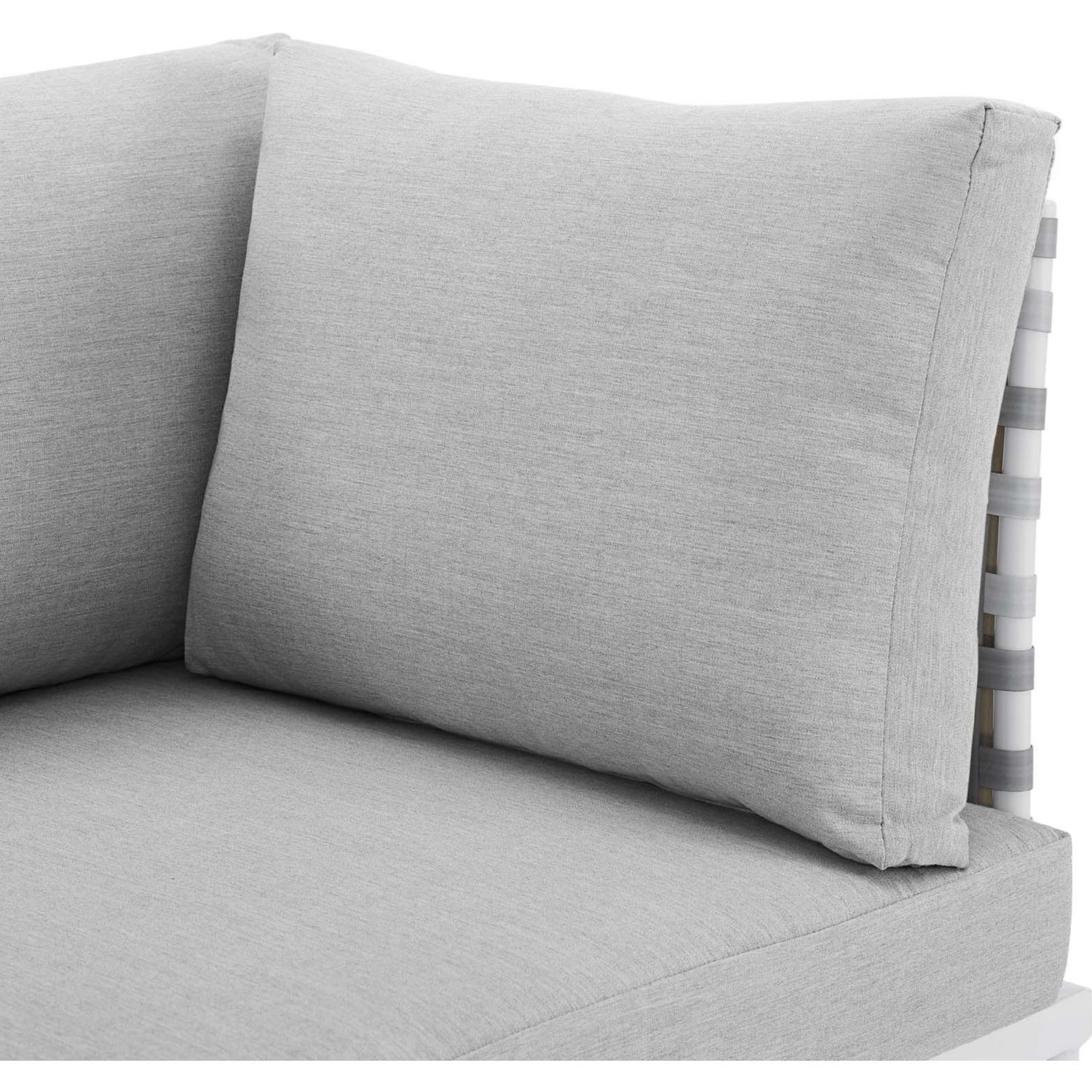 Outdoor Patio Sofa In Taupe Gray Cushion Fabric - image-4