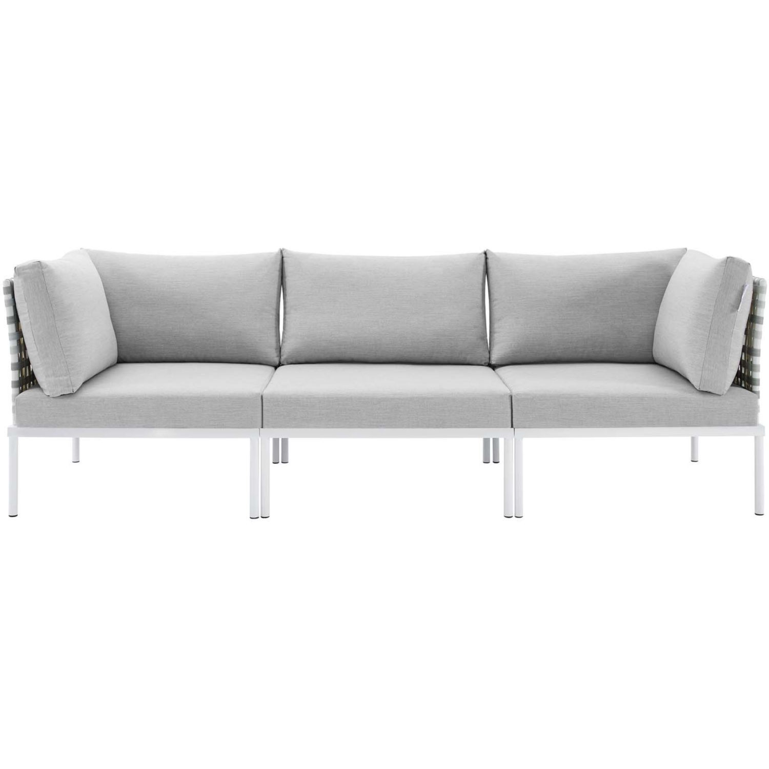Outdoor Patio Sofa In Taupe Gray Cushion Fabric - image-1