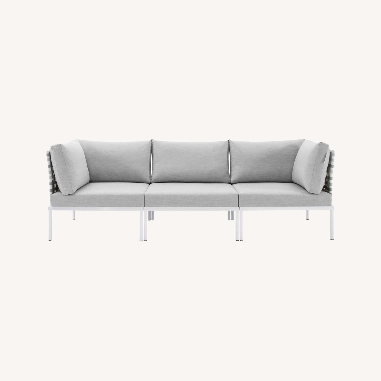 Outdoor Patio Sofa In Taupe Gray Cushion Fabric - image-8