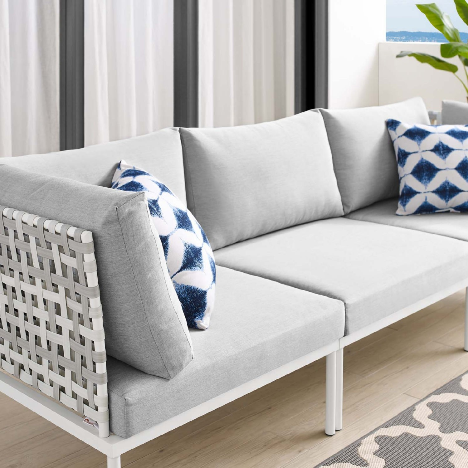 Outdoor Patio Sofa In Taupe Gray Cushion Fabric - image-6
