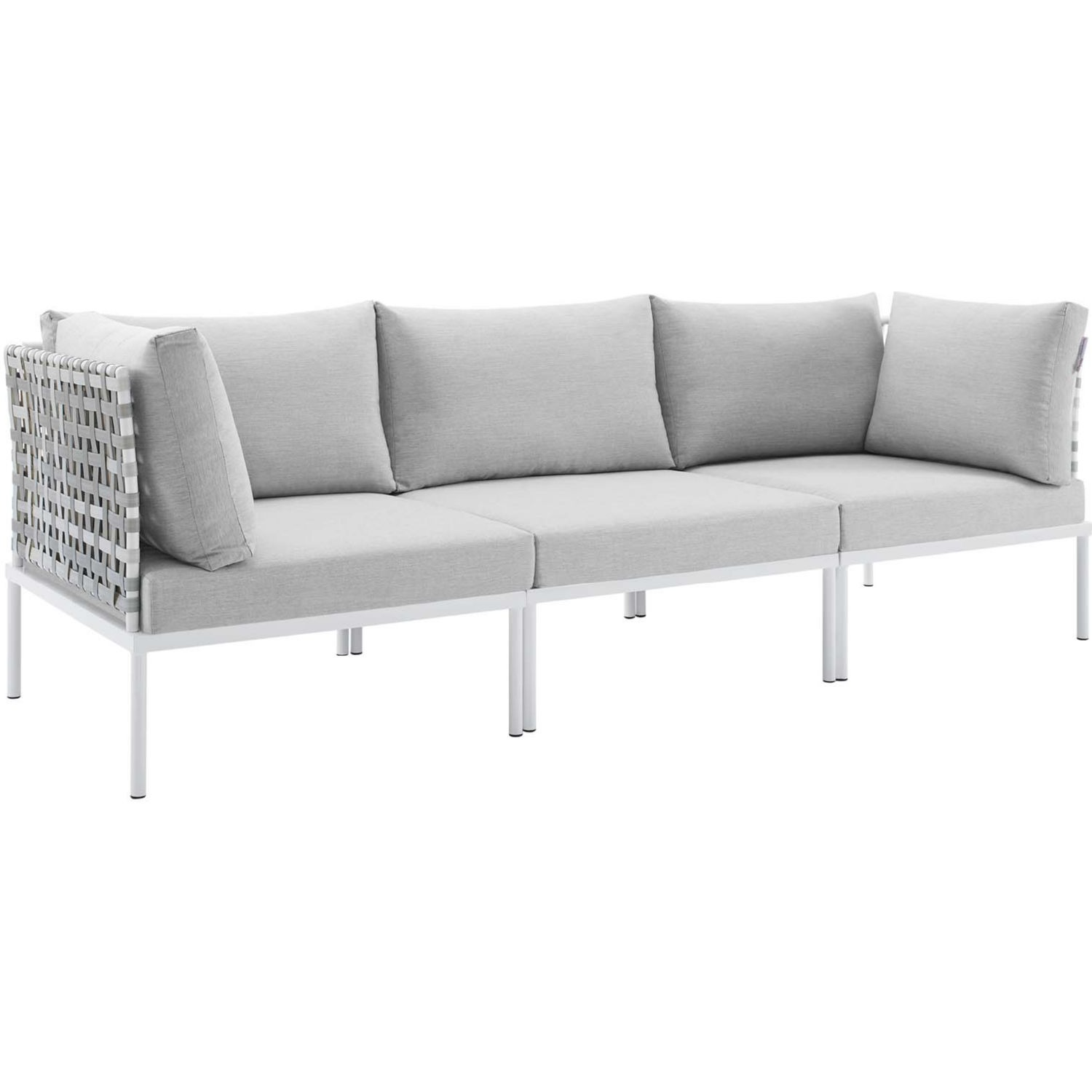 Outdoor Patio Sofa In Taupe Gray Cushion Fabric - image-0