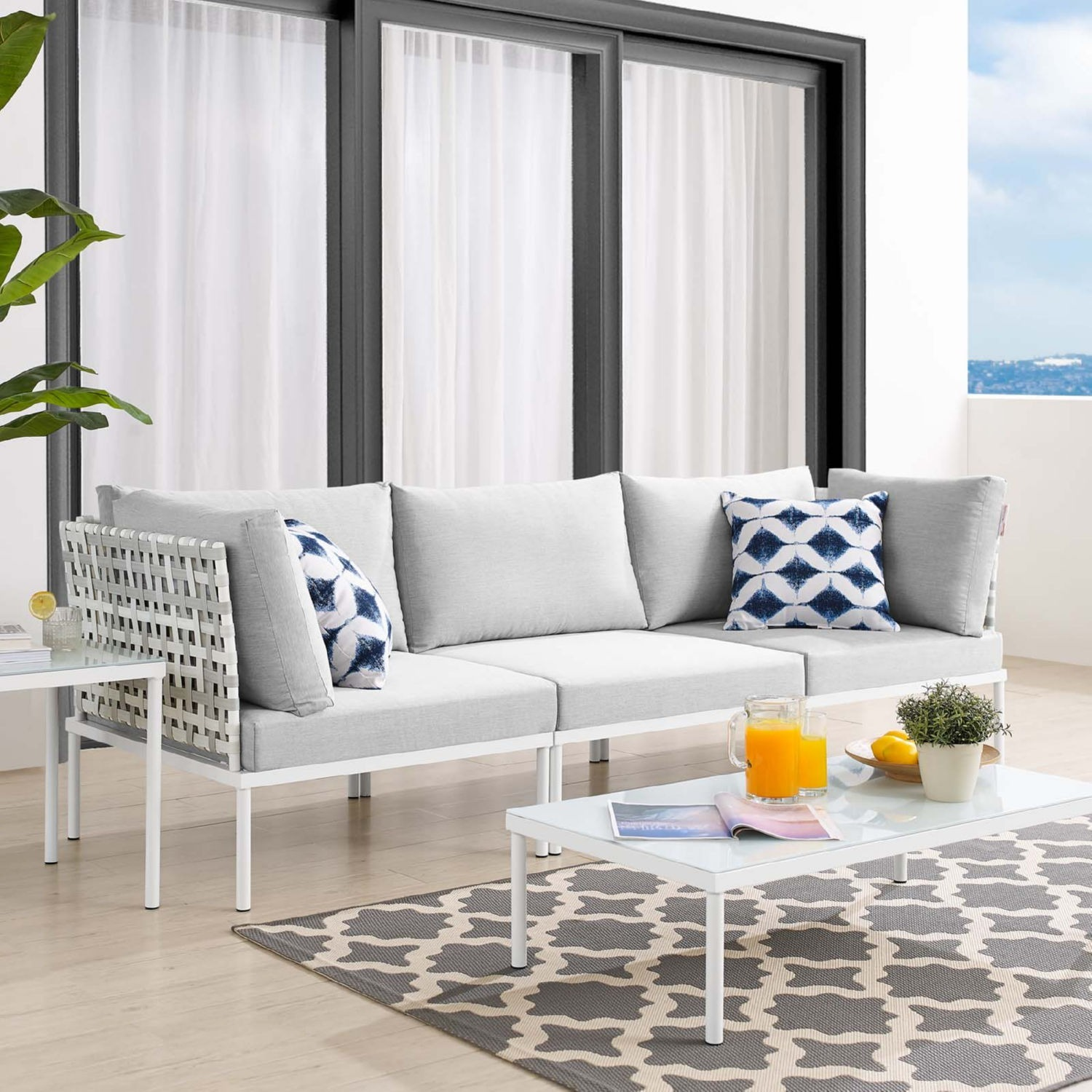 Outdoor Patio Sofa In Taupe Gray Cushion Fabric - image-7