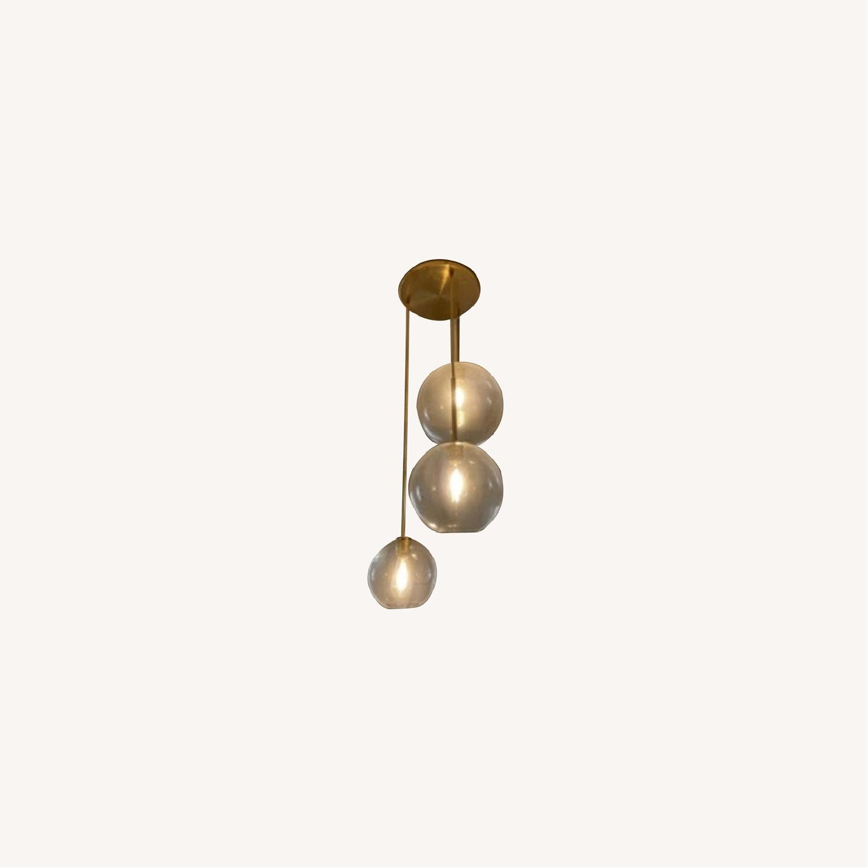 West Elm Sculptural Glass 3-Light Globe Chandelier Clear - image-0