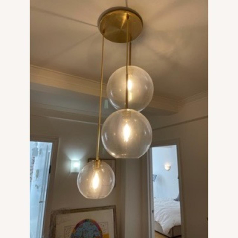 West Elm Sculptural Glass 3-Light Globe Chandelier Clear - image-2